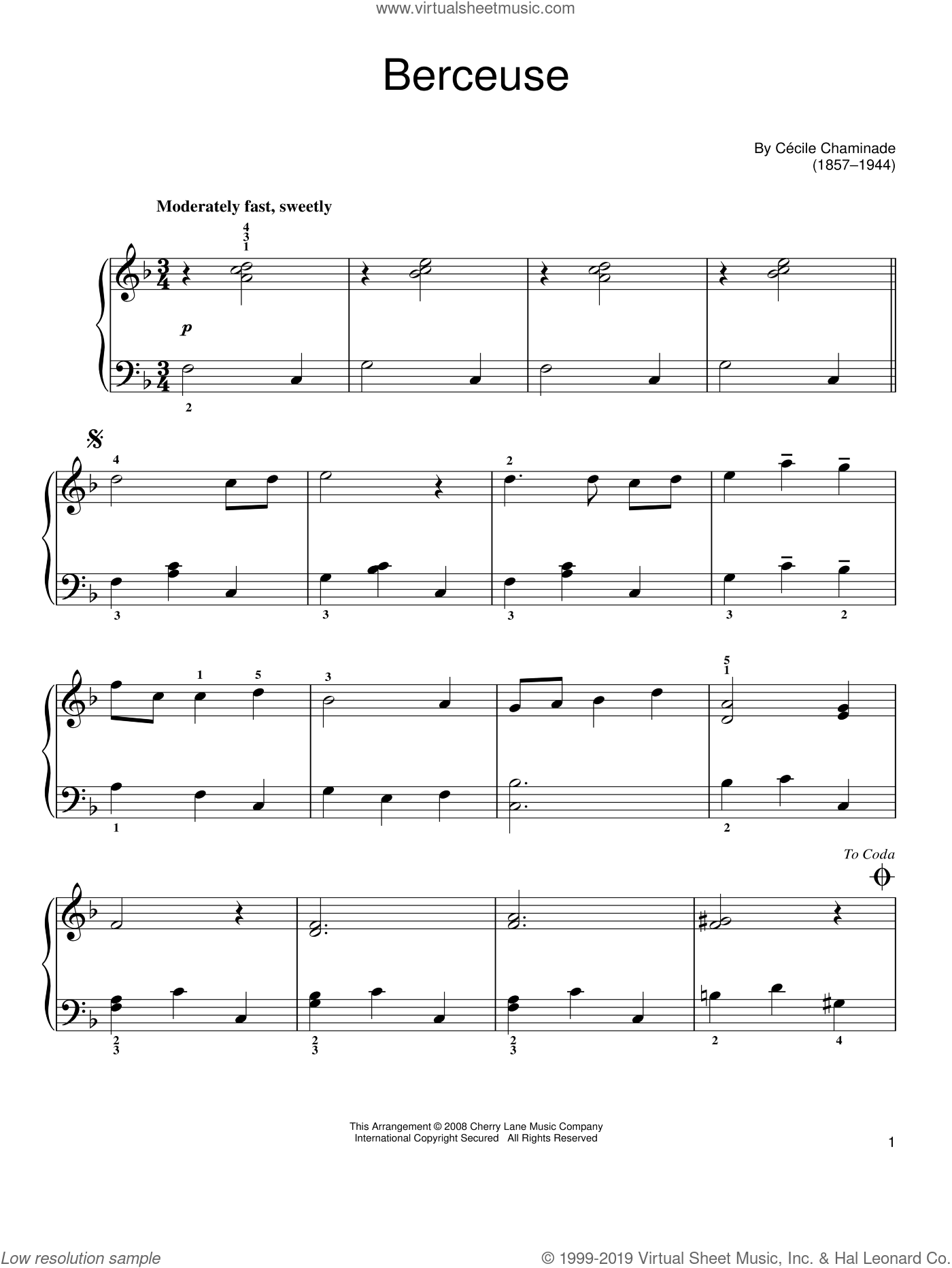 Berceuse sheet music for piano solo by Cecile Chaminade. Score Image Preview.