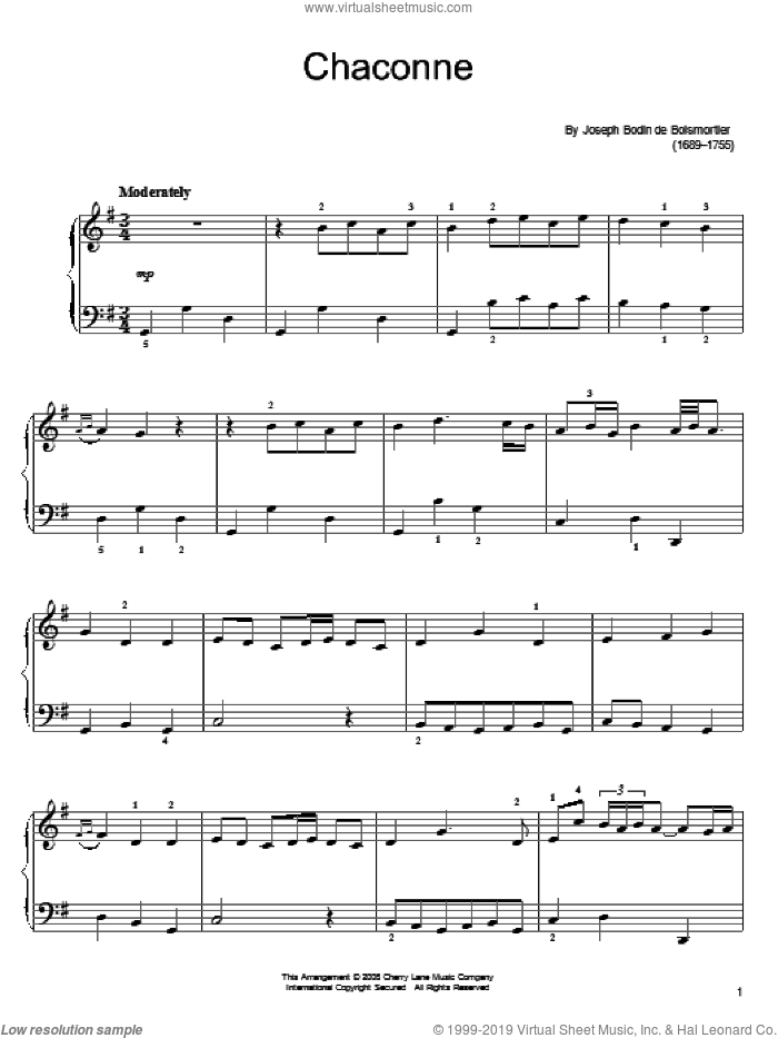 Chaconne sheet music for piano solo by Joseph Bodin De Boismortier, classical score, easy. Score Image Preview.