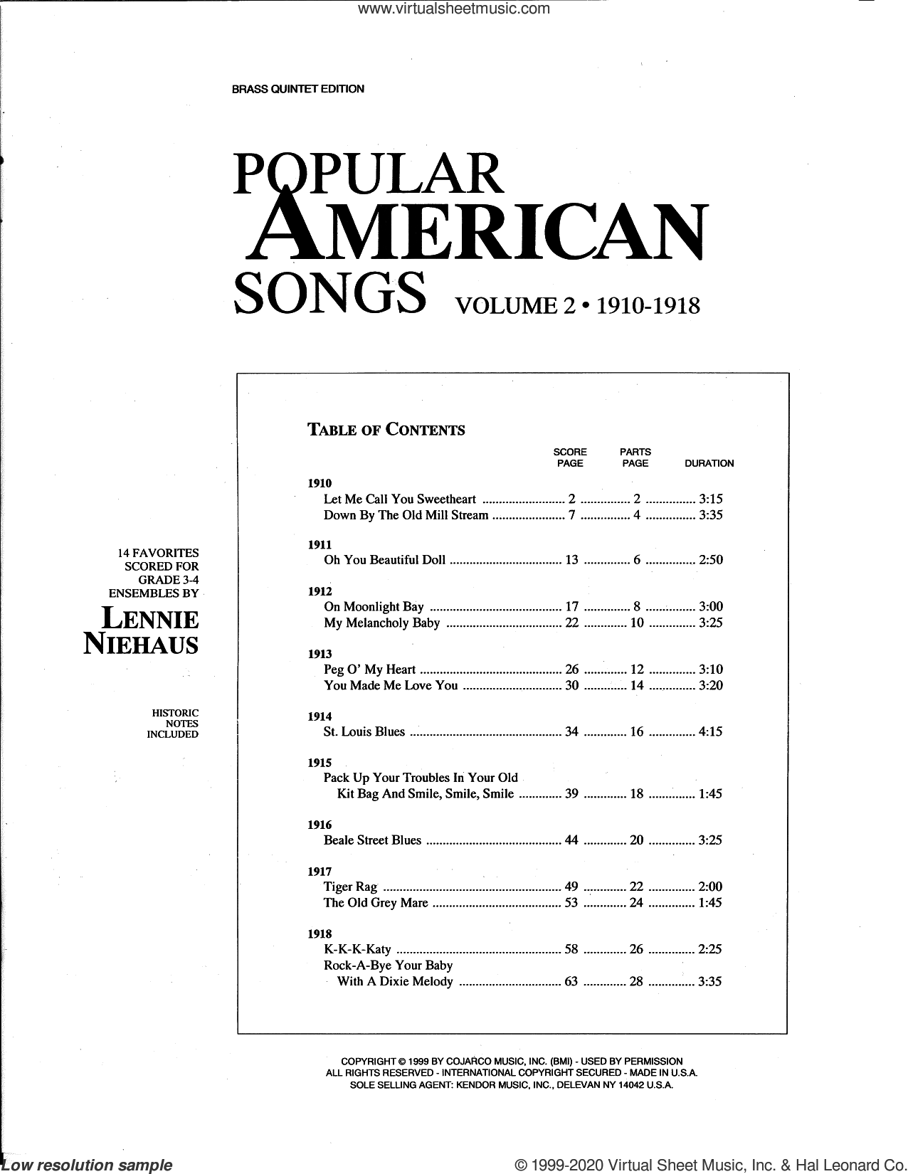 Popular American Songs, Volume 2 - 1st Trumpet sheet music for brass quintet by Lennie Niehaus and Miscellaneous, intermediate skill level