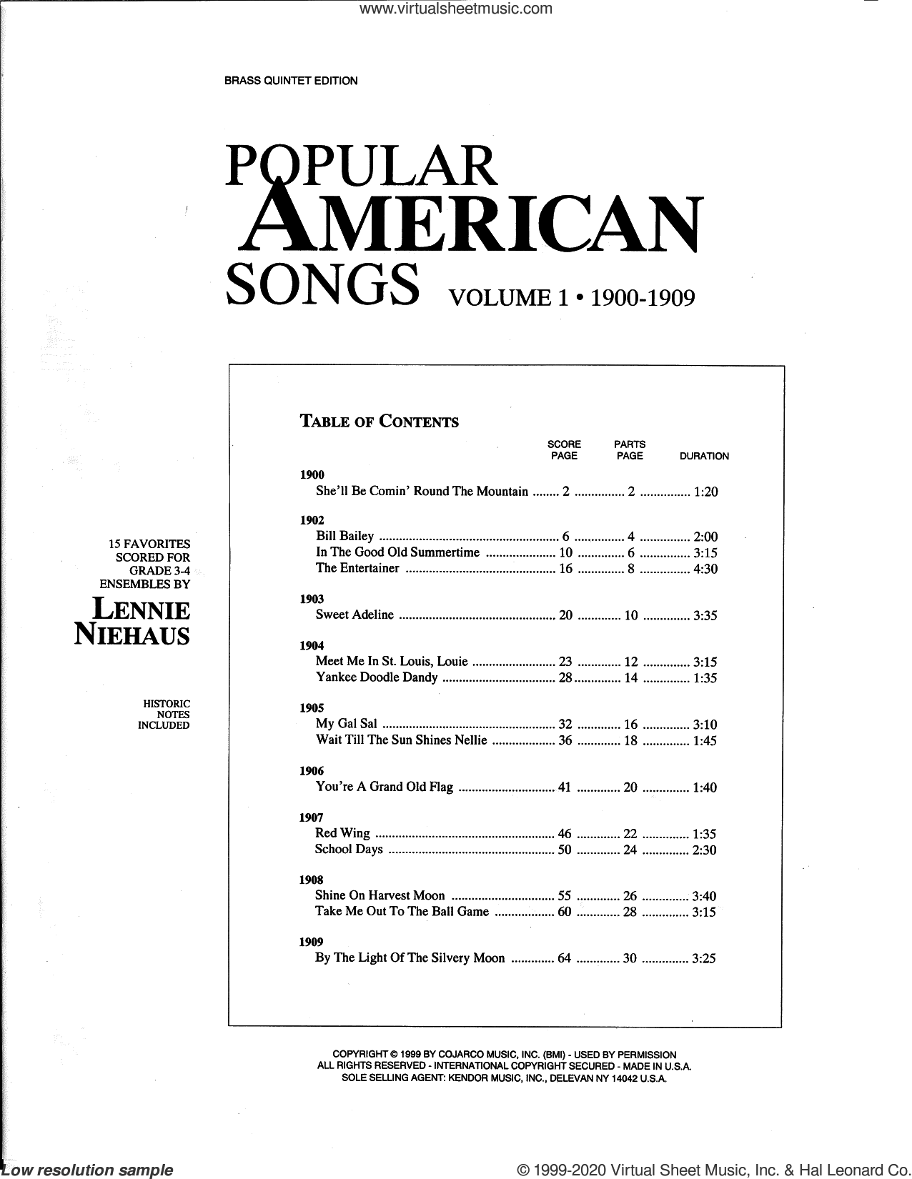 Popular American Songs, Volume 1 - 1st Trumpet sheet music for brass quintet by Lennie Niehaus and Miscellaneous, intermediate skill level