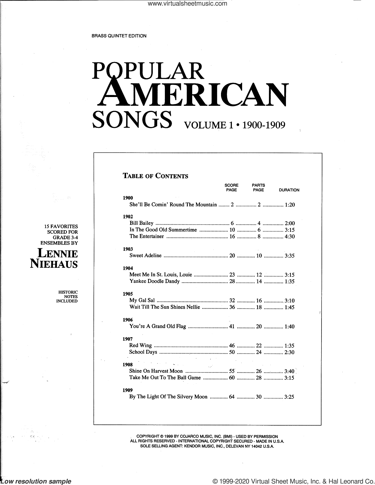 Popular American Songs, Volume 1 - 2nd Trumpet sheet music for brass quintet by Lennie Niehaus and Miscellaneous, intermediate skill level