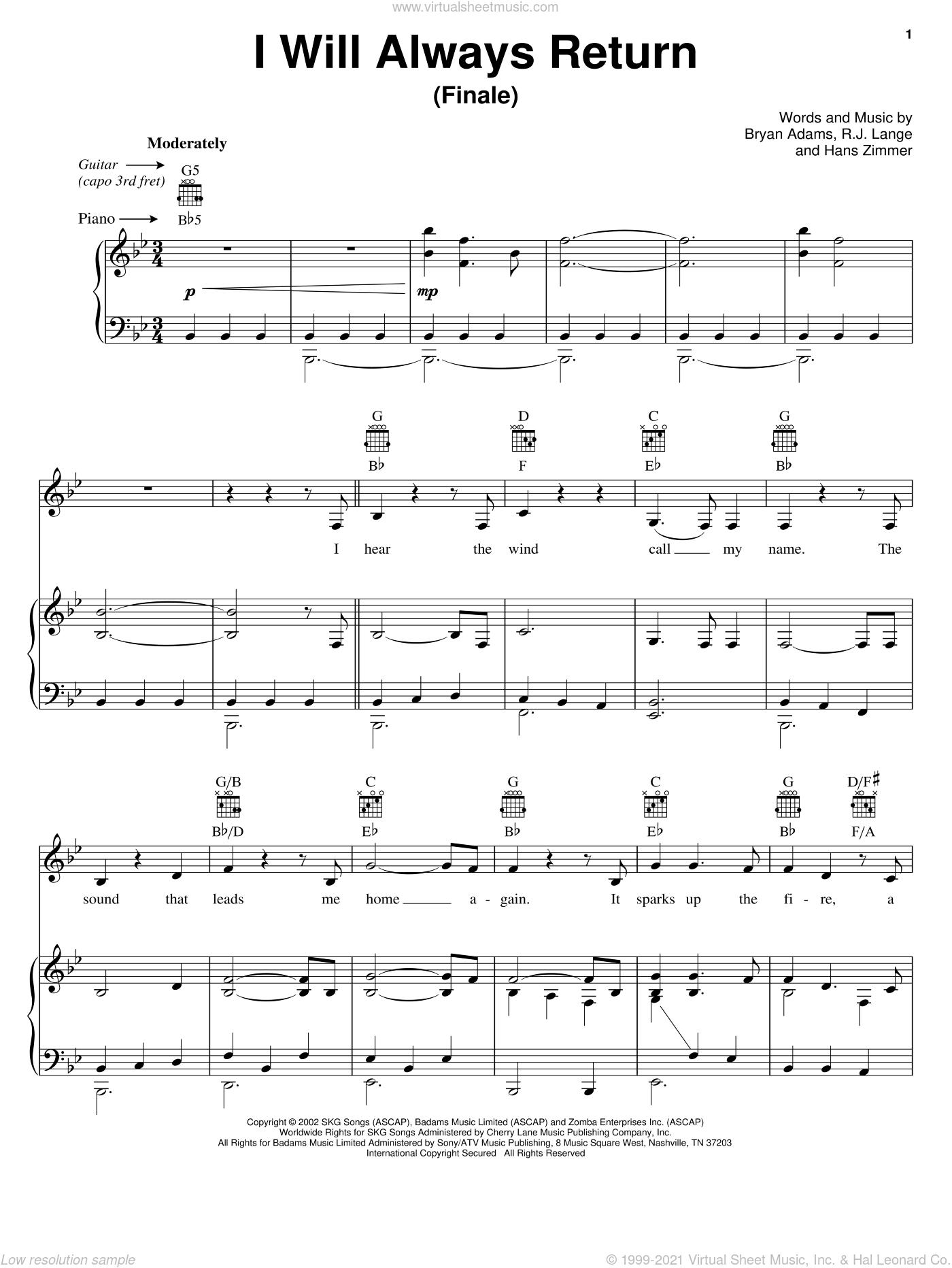 I Will Always Return (Finale) sheet music for voice, piano or guitar by Bryan Adams, Spirit: Stallion Of The Cimarron (Movie), Hans Zimmer and Robert John Lange, intermediate skill level