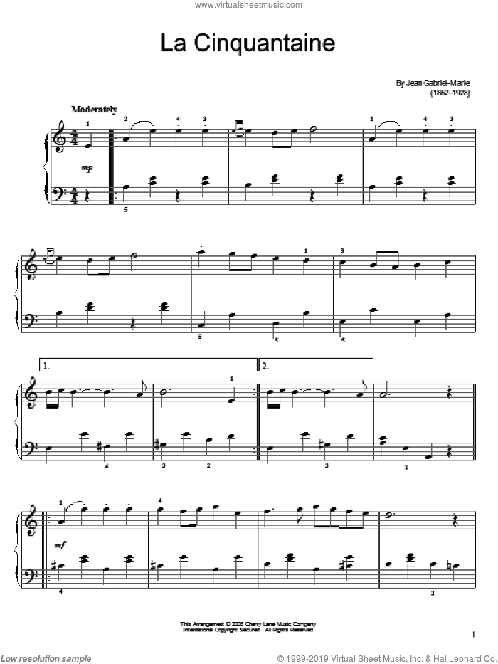 La Cinquantine (The Golden Wedding) sheet music for piano solo by Jean Gabriel-Marie, classical score, easy skill level