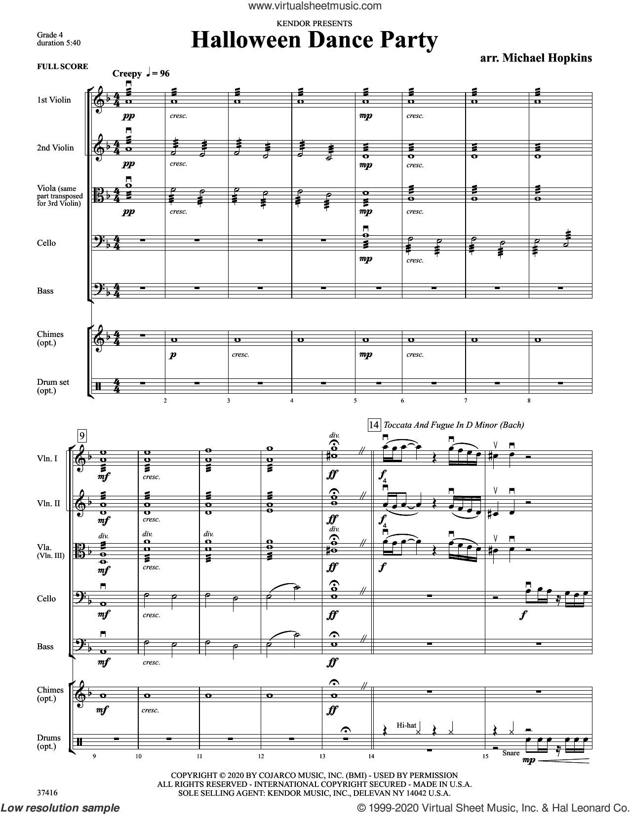 Halloween Dance Party (COMPLETE) sheet music for orchestra by Michael Hopkins and Miscellaneous, intermediate skill level