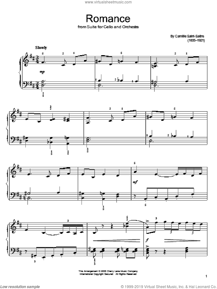 Romance sheet music for piano solo by Camille Saint-Saens, classical score, easy. Score Image Preview.