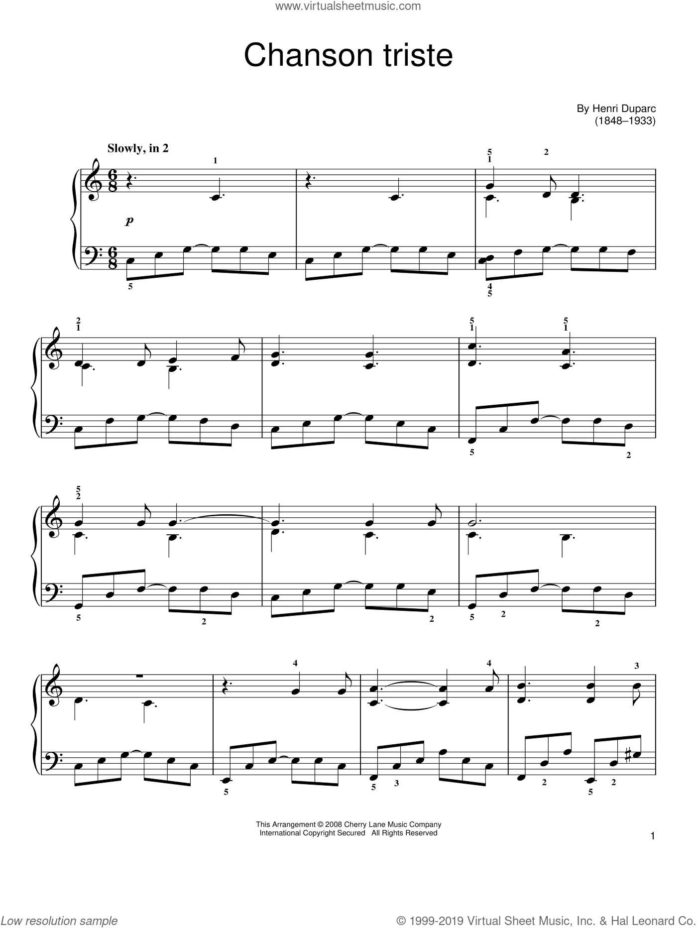 Chanson Triste sheet music for piano solo by Henri Duparc, classical score, easy. Score Image Preview.