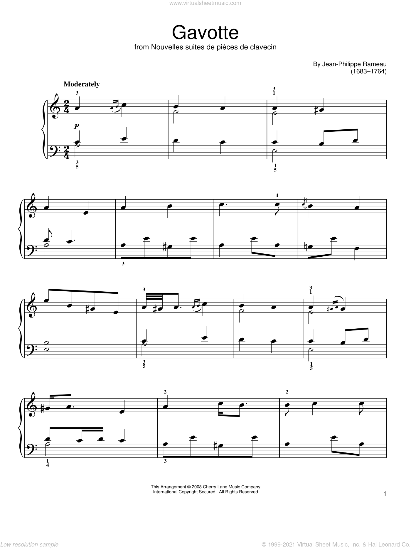 Gavotte sheet music for piano solo by Jean-Philippe Rameau, classical score, easy skill level