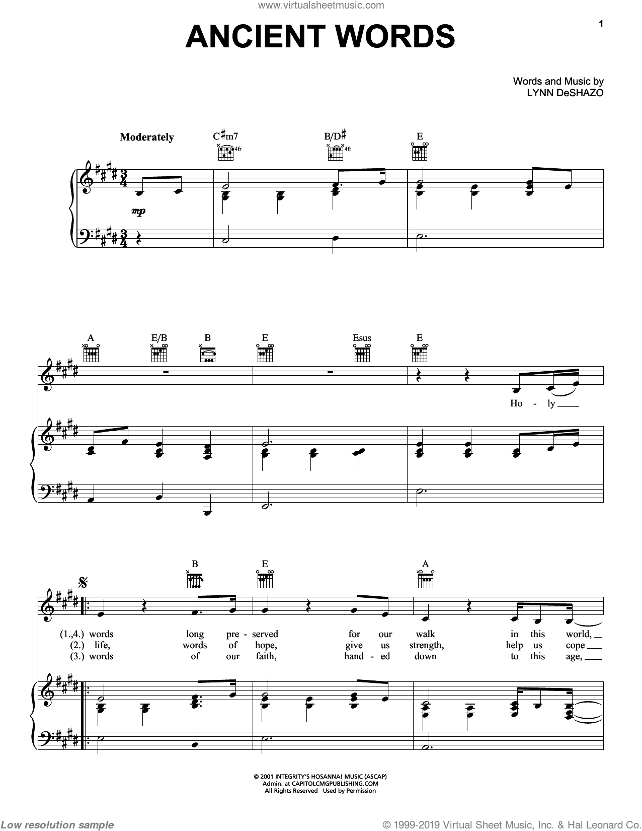 Ancient Words sheet music for voice, piano or guitar by Lynn DeShazo and Robin Mark, intermediate skill level