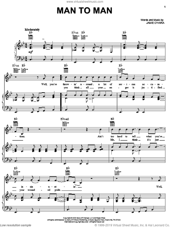 Man To Man sheet music for voice, piano or guitar by Gary Allan. Score Image Preview.