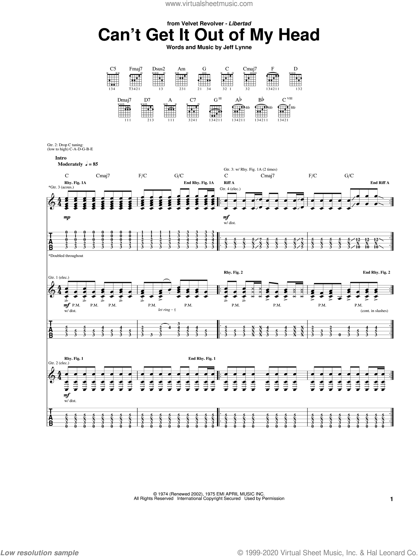 Can't Get It Out Of My Head sheet music for guitar (tablature) by Jeff Lynne. Score Image Preview.
