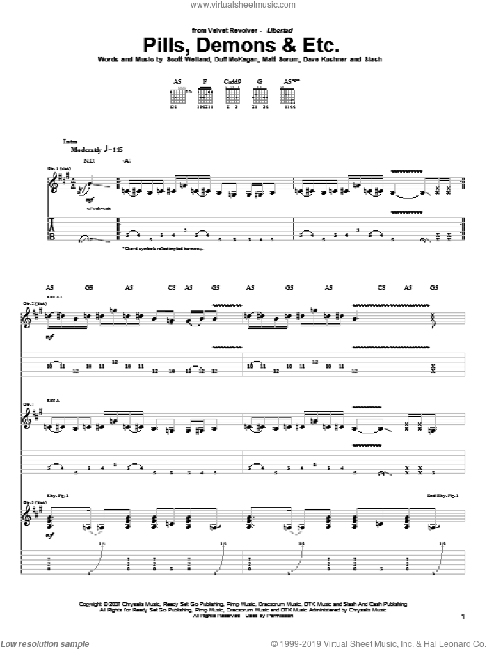 Pills, Demons and Etc. sheet music for guitar (tablature) by Slash, Duff McKagan and Scott Weiland. Score Image Preview.
