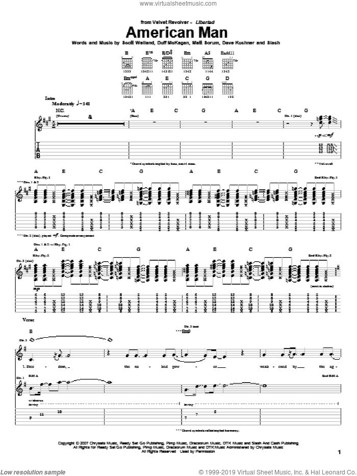 American Man sheet music for guitar (tablature) by Velvet Revolver, Dave Kushner, Duff McKagan, Matt Sorum, Scott Weiland and Slash, intermediate skill level