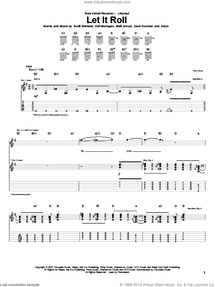 Let It Roll sheet music for guitar (tablature) by Velvet Revolver, Dave Kushner, Duff McKagan, Matt Sorum, Scott Weiland and Slash, intermediate skill level