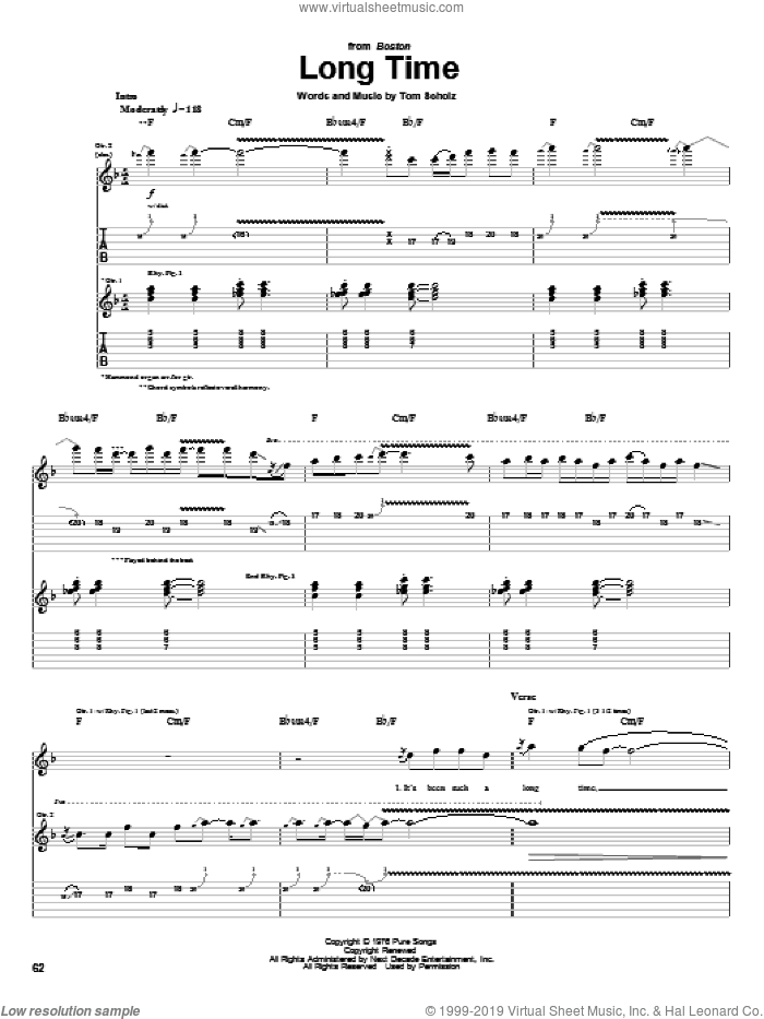 Long Time sheet music for guitar (tablature) by Tom Scholz. Score Image Preview.