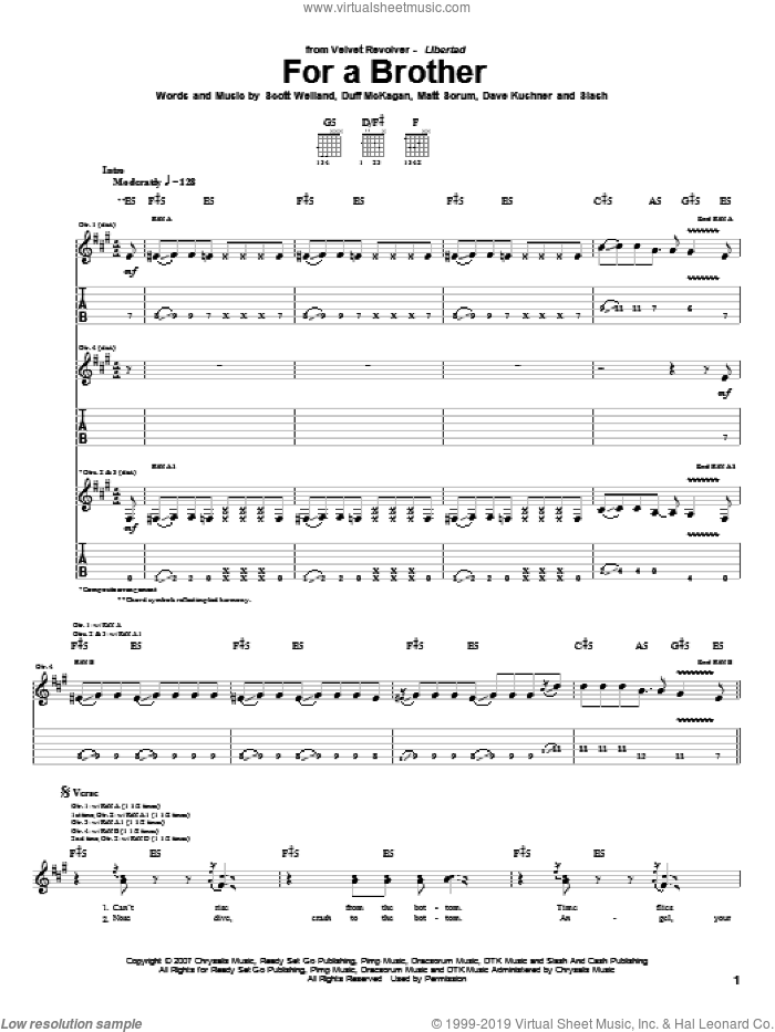 For A Brother sheet music for guitar (tablature) by Velvet Revolver, Duff McKagan and Slash, intermediate guitar (tablature). Score Image Preview.