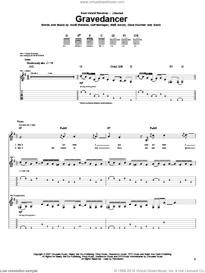 Gravedancer sheet music for guitar (tablature) by Velvet Revolver, Duff McKagan and Slash, intermediate guitar (tablature). Score Image Preview.