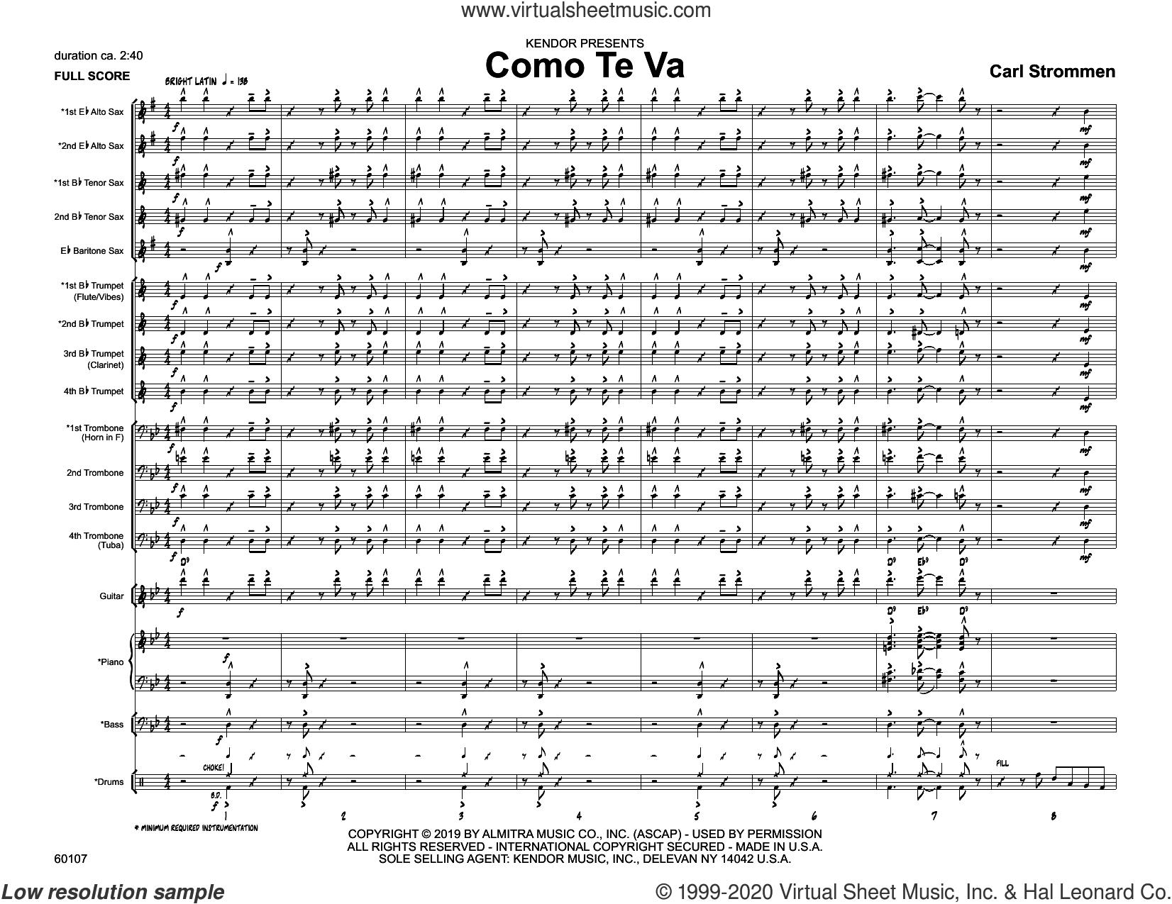 Como Te Va (COMPLETE) sheet music for jazz band by Carl Strommen, intermediate skill level