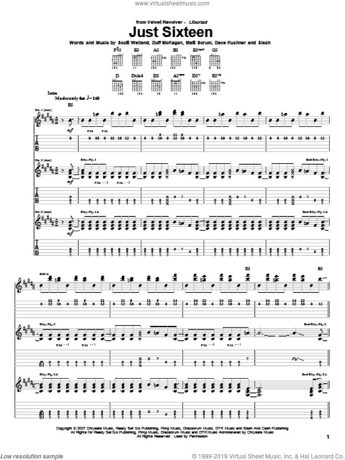Just Sixteen sheet music for guitar (tablature) by Velvet Revolver and Slash, intermediate. Score Image Preview.