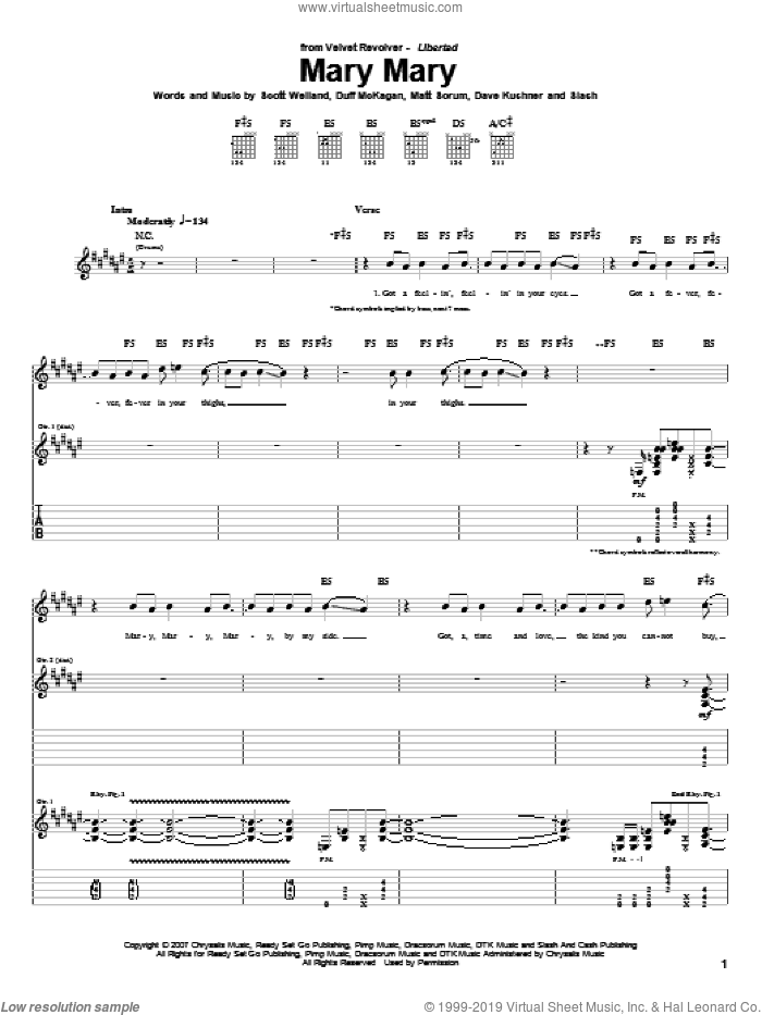 Mary Mary sheet music for guitar (tablature) by Velvet Revolver, Duff McKagan and Slash, intermediate. Score Image Preview.