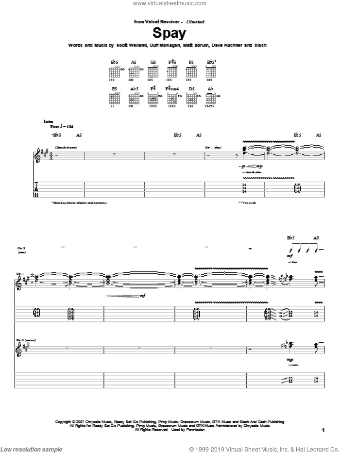 Spay sheet music for guitar (tablature) by Velvet Revolver, Dave Kushner, Duff McKagan, Matt Sorum, Scott Weiland and Slash, intermediate