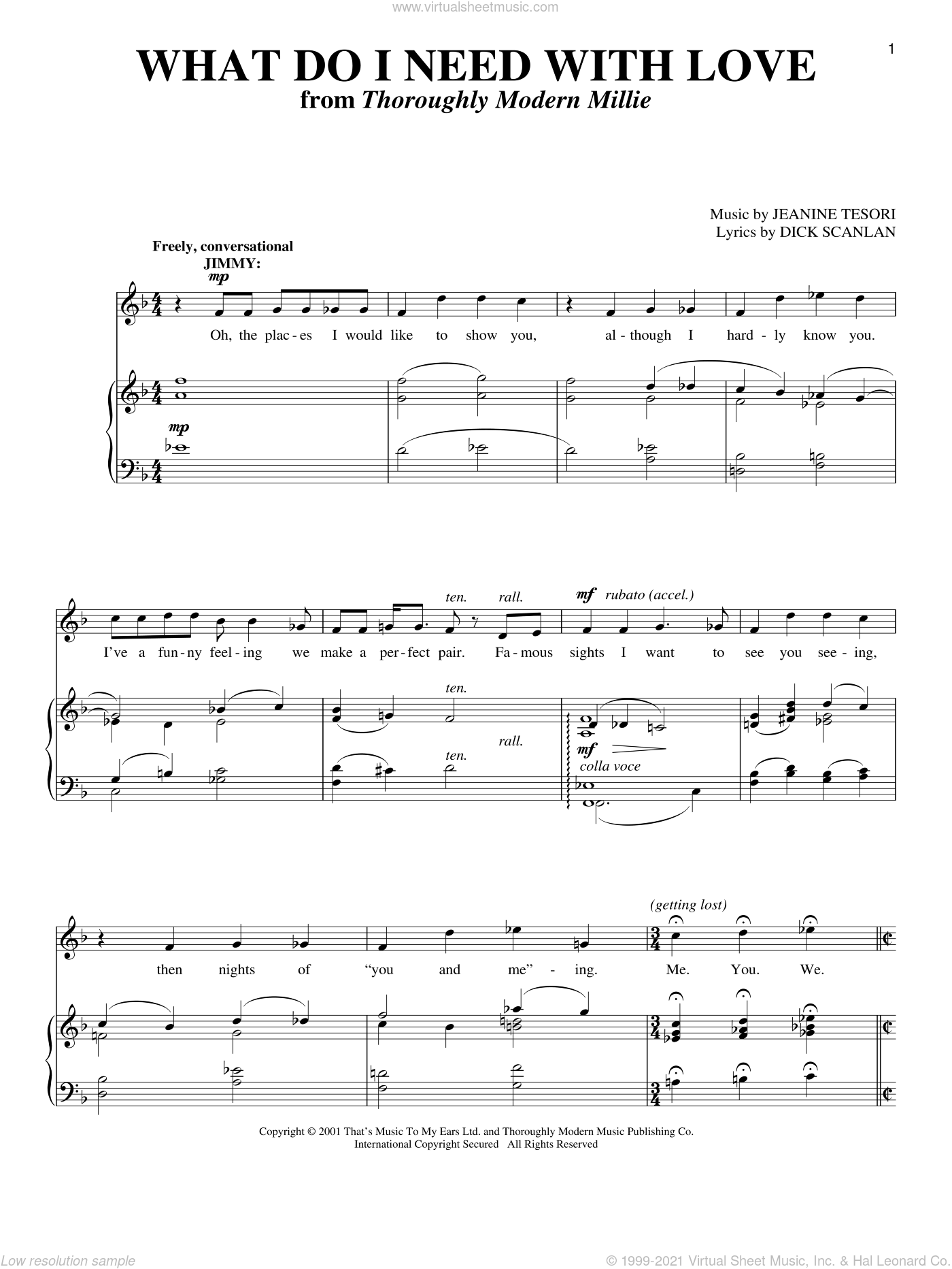 What Do I Need With Love sheet music for voice and piano by Dick Scanlan and Jeanine Tesori, intermediate skill level