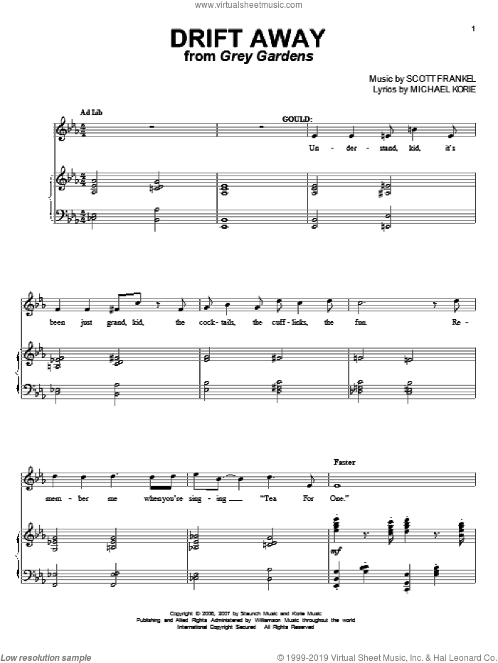 Drift Away sheet music for voice and piano by Michael Korie and Scott Frankel, intermediate skill level