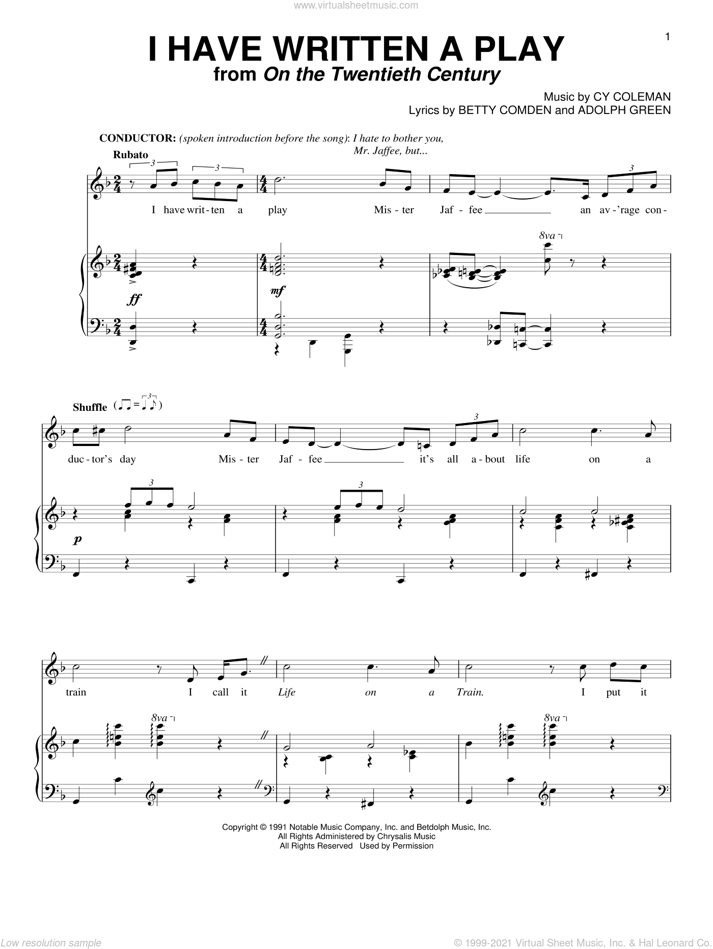 I Have Written A Play sheet music for voice and piano by Cy Coleman, Adolph Green and Betty Comden, intermediate skill level
