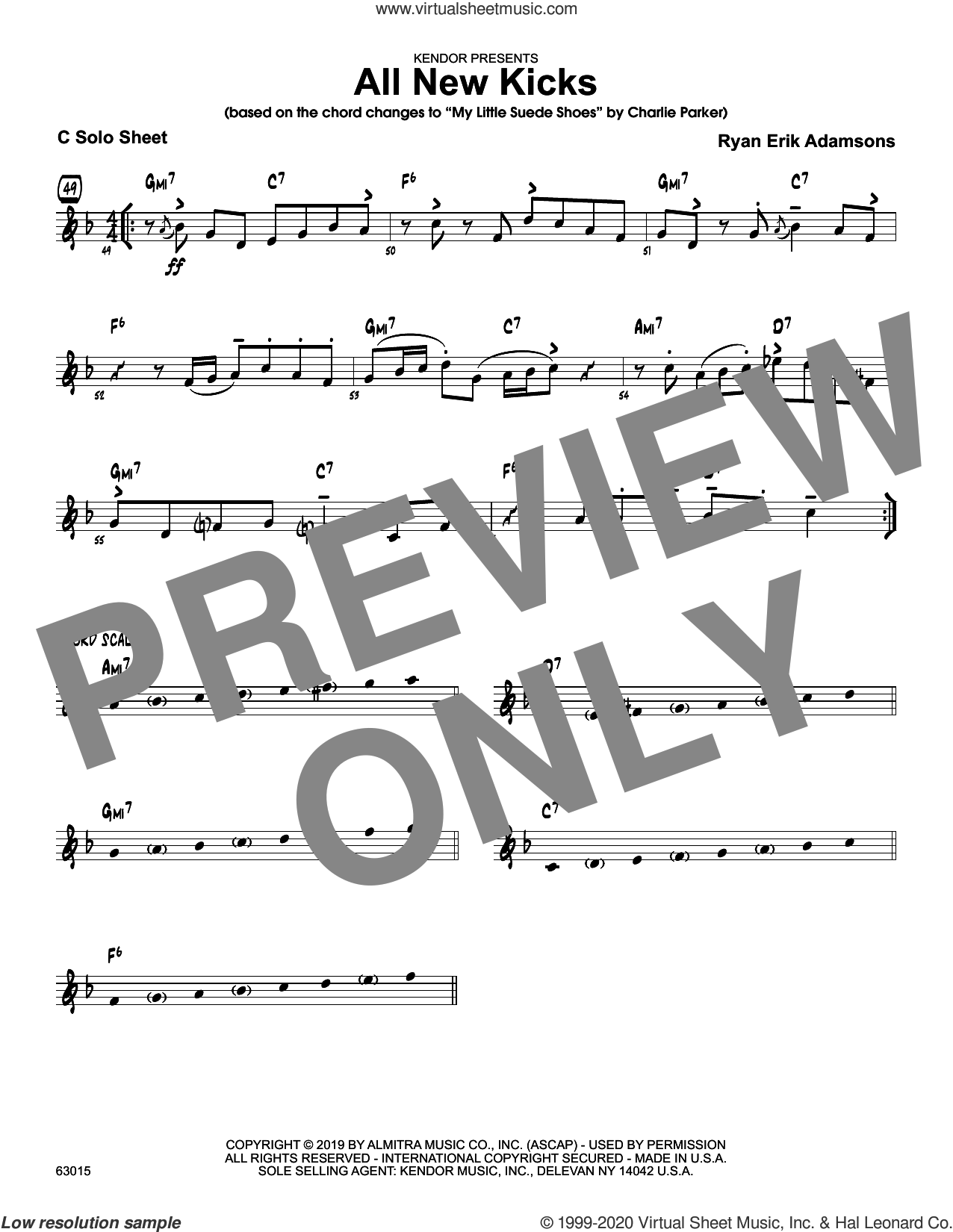All New Kicks, solo sheet sheet music for jazz band (solo sheet - alto sax) by Ryan Erik Adamsons, intermediate skill level