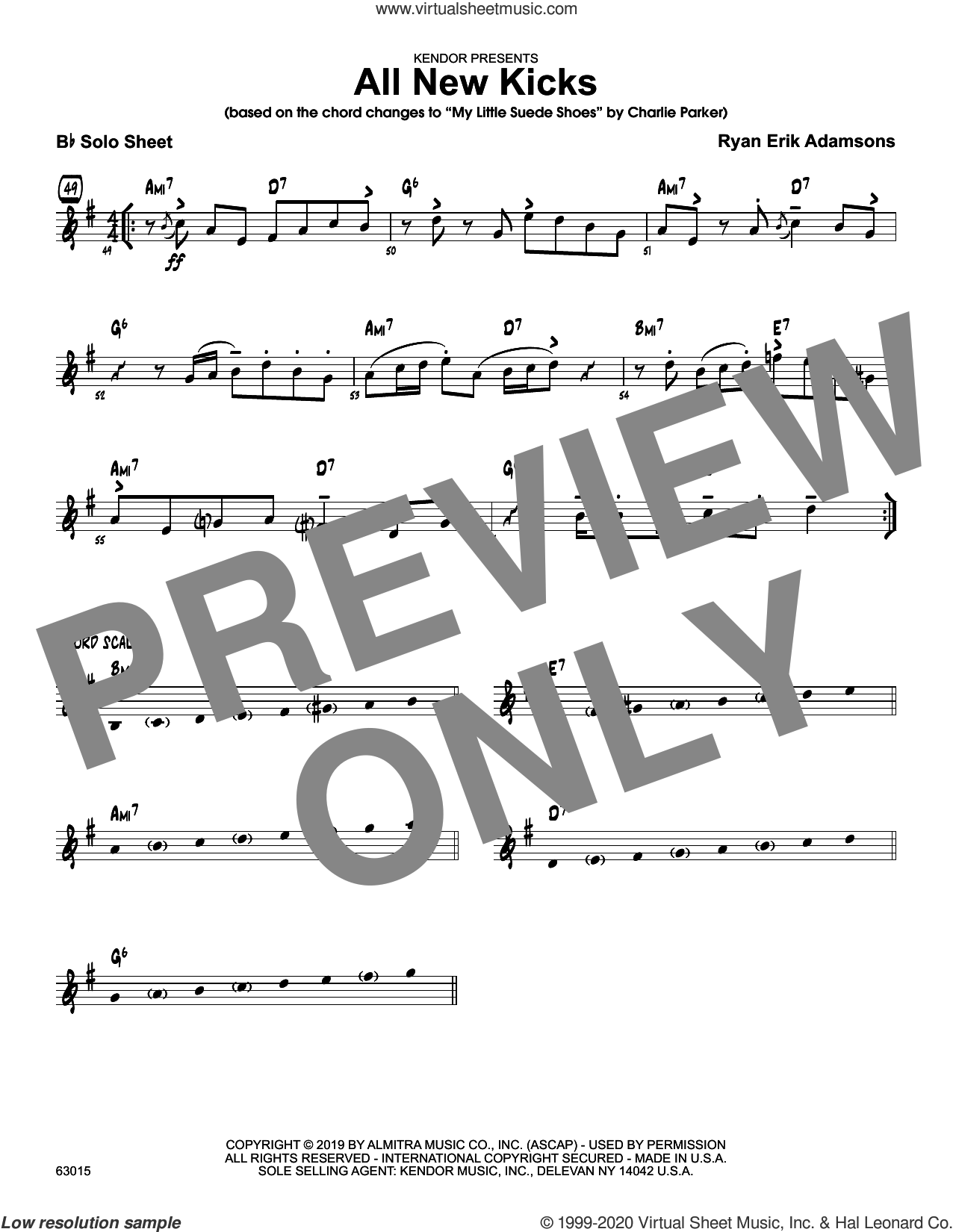 All New Kicks sheet music for jazz band (solo sheet for f instruments) by Ryan Erik Adamsons, intermediate skill level