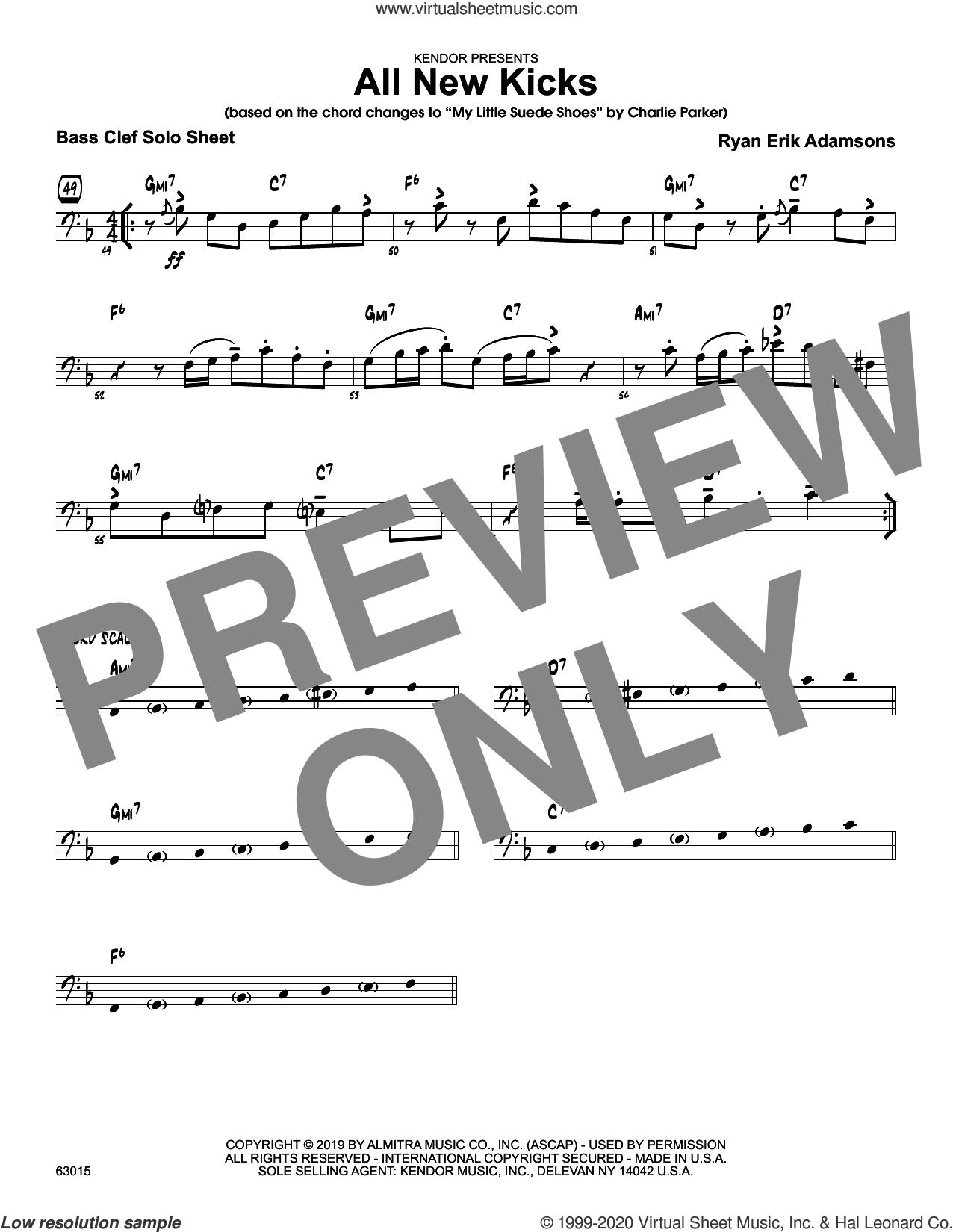 All New Kicks, solo sheet sheet music for jazz band (solo sheet - trombone) by Ryan Erik Adamsons, intermediate skill level