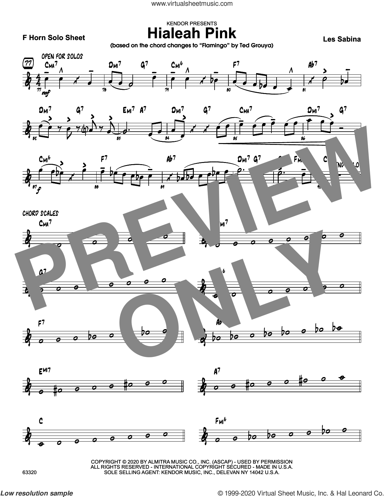 Hialeah Pink, solo sheet sheet music for jazz band (solo sheet - trumpet) by Les Sabina, intermediate skill level