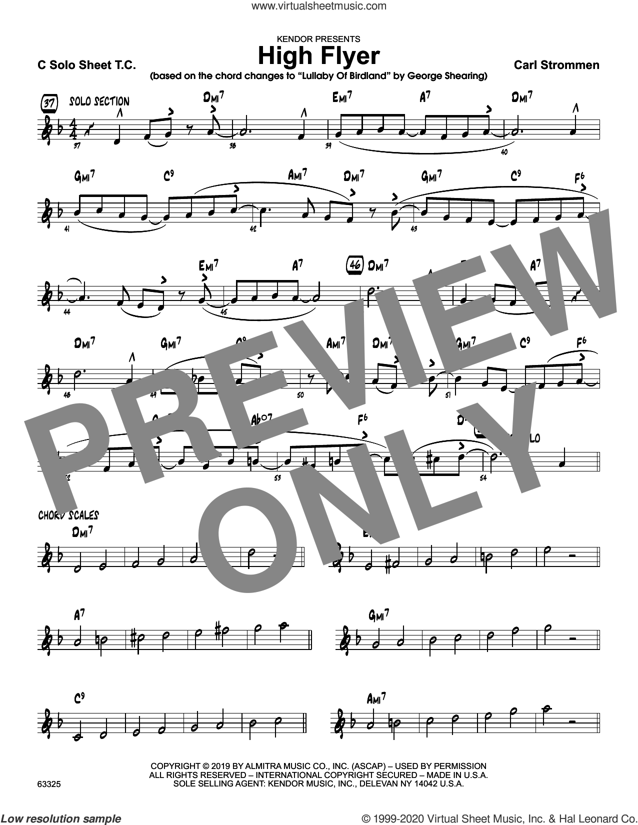 High Flyer, solo sheet sheet music for jazz band (solo sheet - alto sax) by Carl Strommen, intermediate skill level