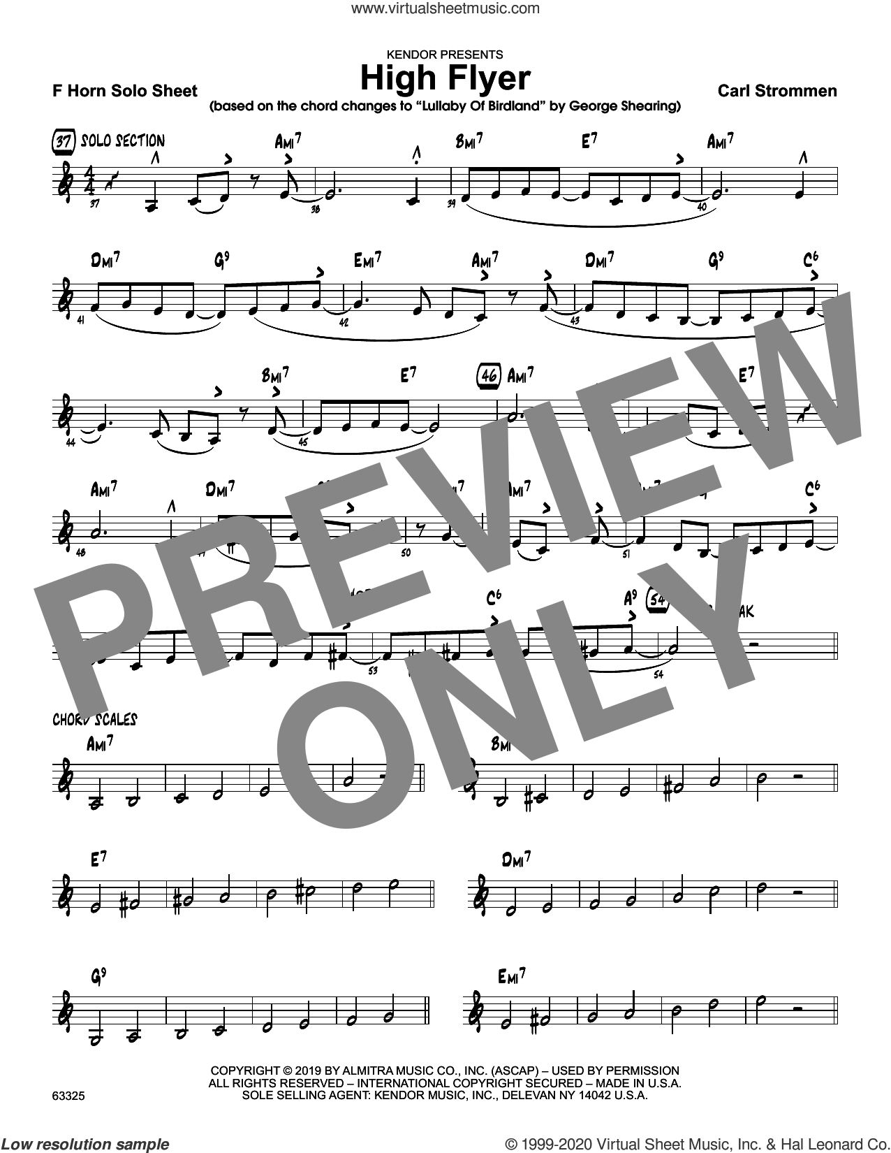 High Flyer, solo sheet sheet music for jazz band (solo sheet - trumpet) by Carl Strommen, intermediate skill level