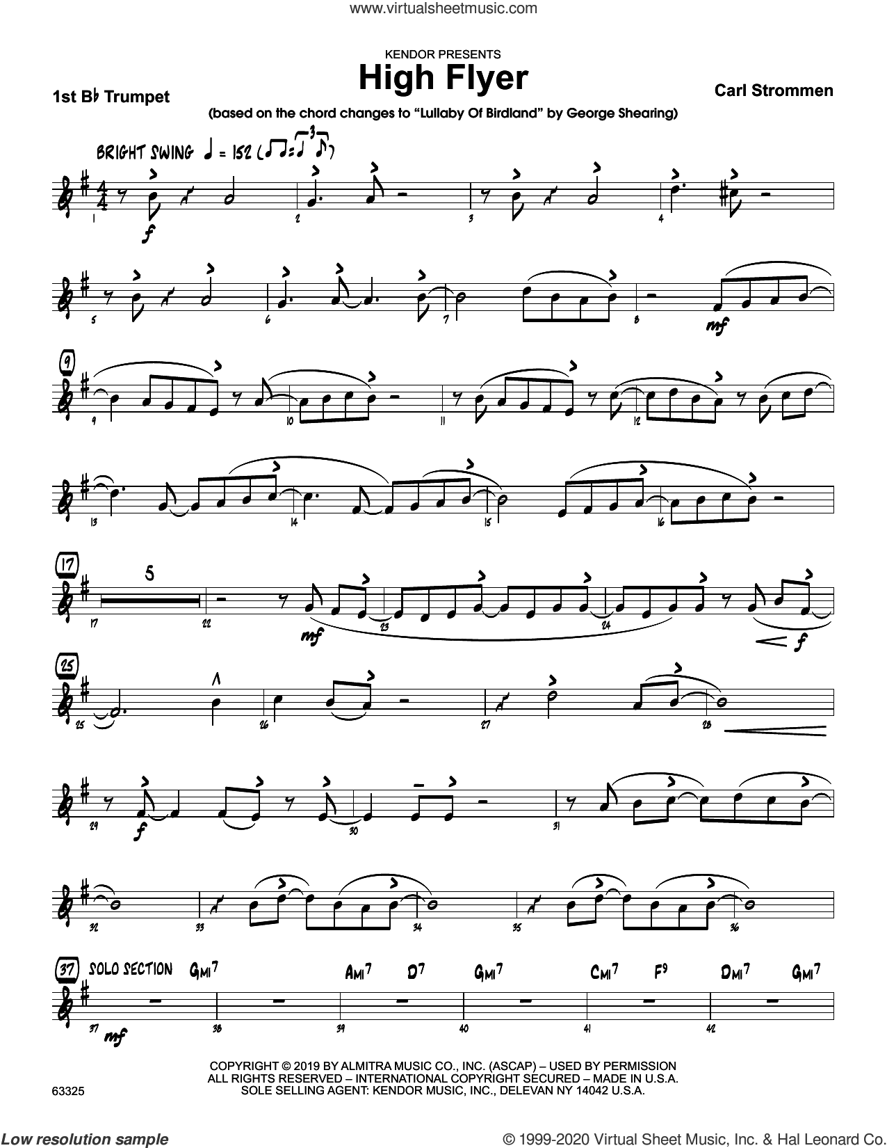 High Flyer sheet music for jazz band (1st Bb trumpet) by Carl Strommen, intermediate skill level