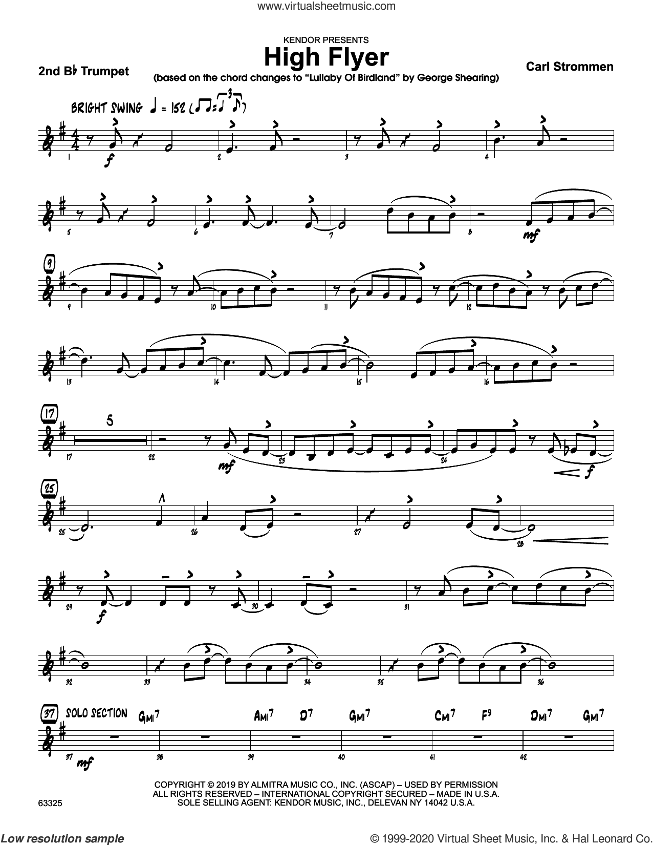 High Flyer sheet music for jazz band (2nd Bb trumpet) by Carl Strommen, intermediate skill level