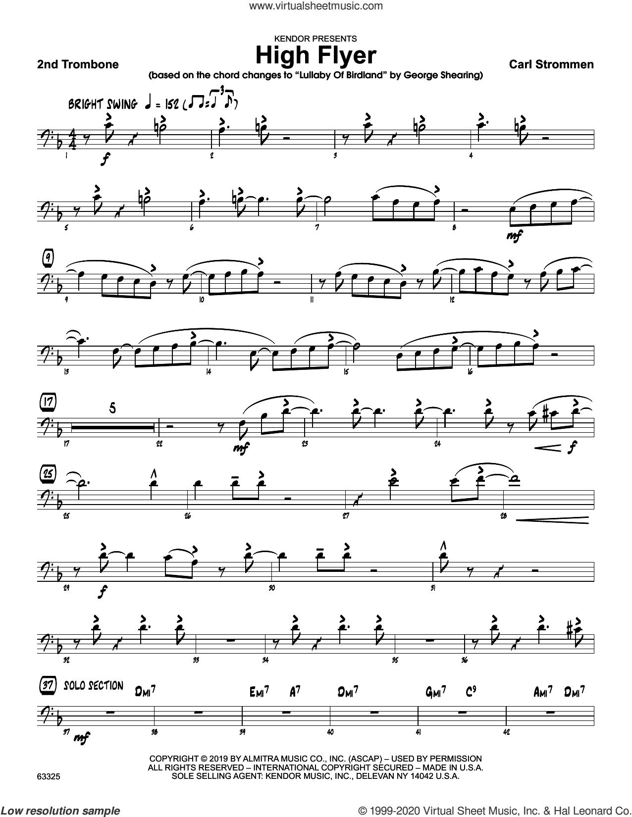 High Flyer sheet music for jazz band (2nd trombone) by Carl Strommen, intermediate skill level