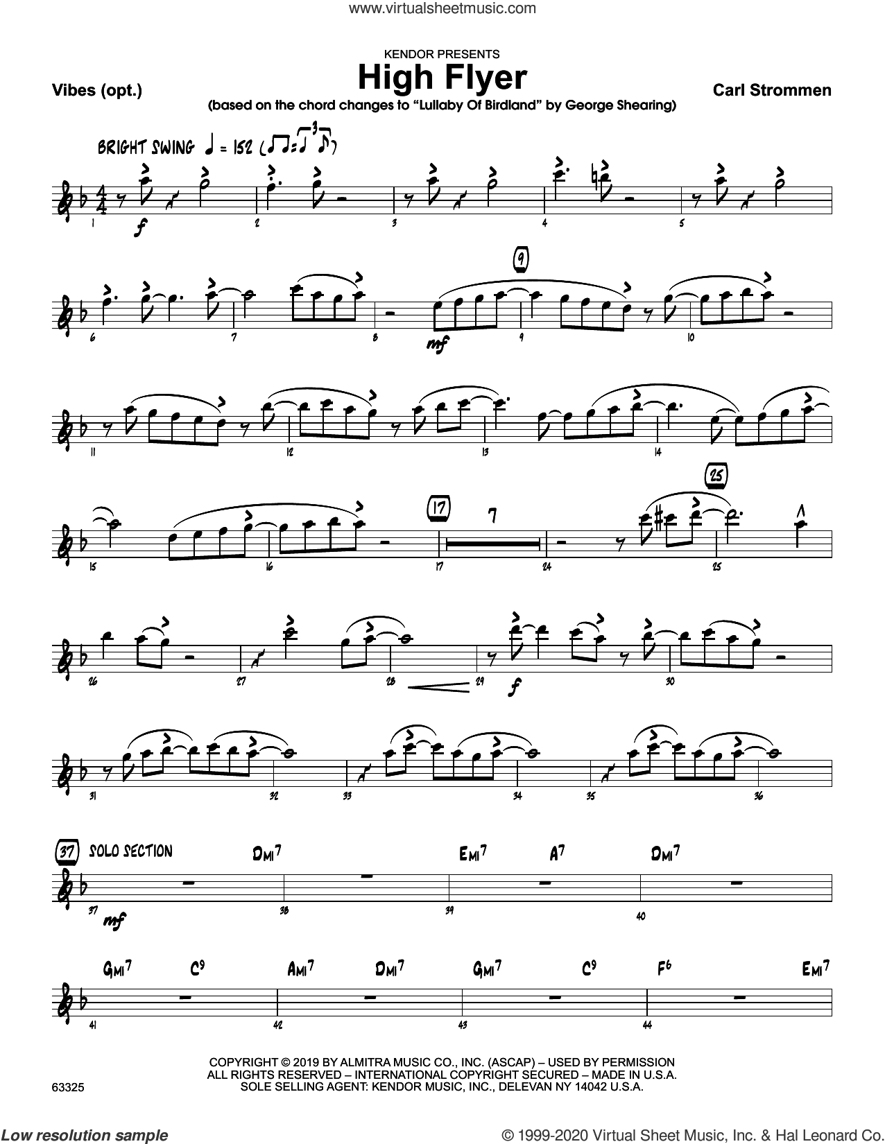 High Flyer sheet music for jazz band (vibes) by Carl Strommen, intermediate skill level