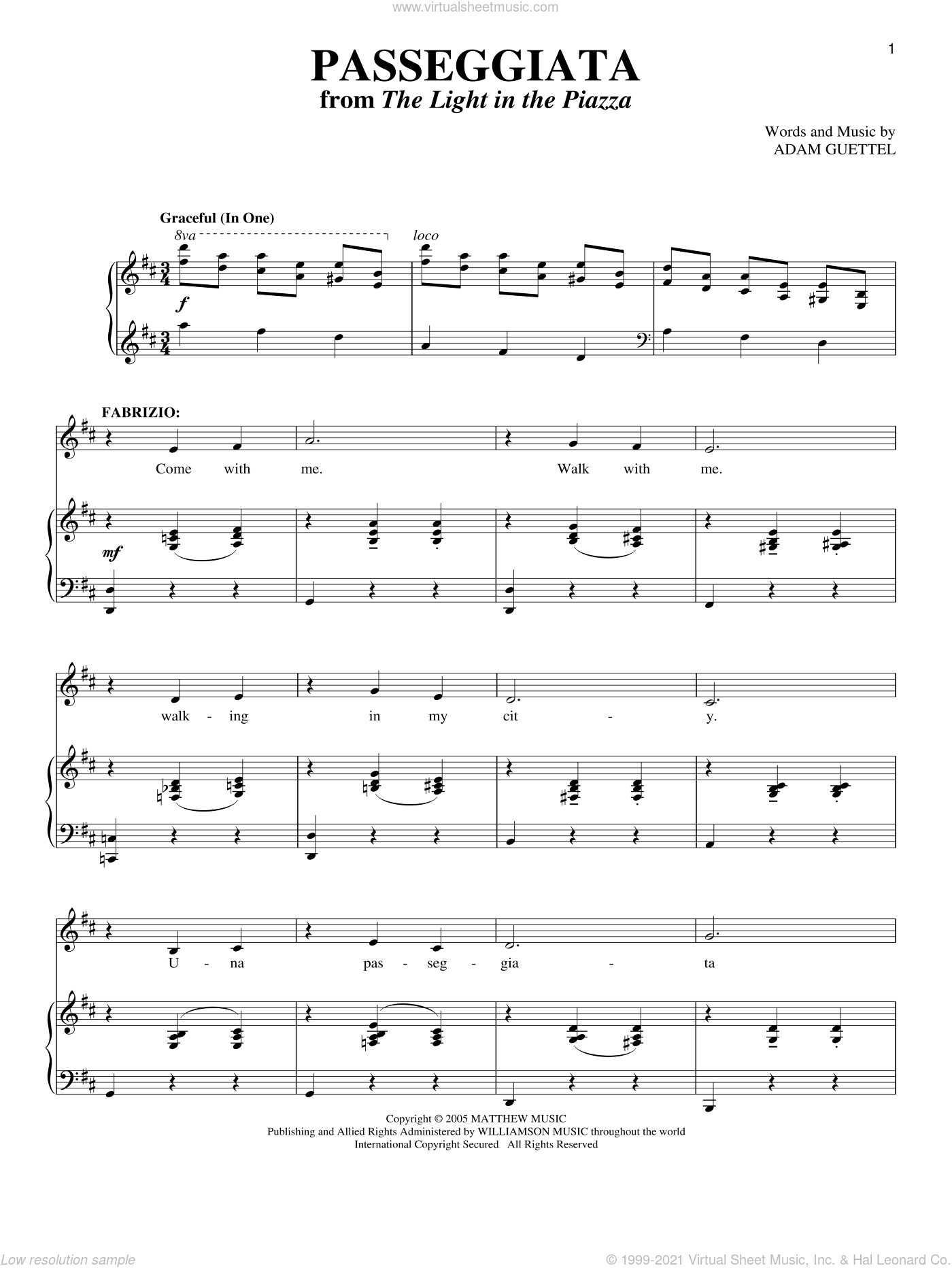 Passeggiata sheet music for voice and piano by Adam Guettel. Score Image Preview.