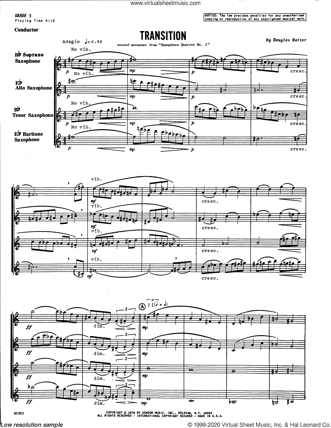 Transition (second movement from Saxophone Quartet No. 1) (COMPLETE) sheet music for saxophone quartet by Douglas Walter, intermediate skill level