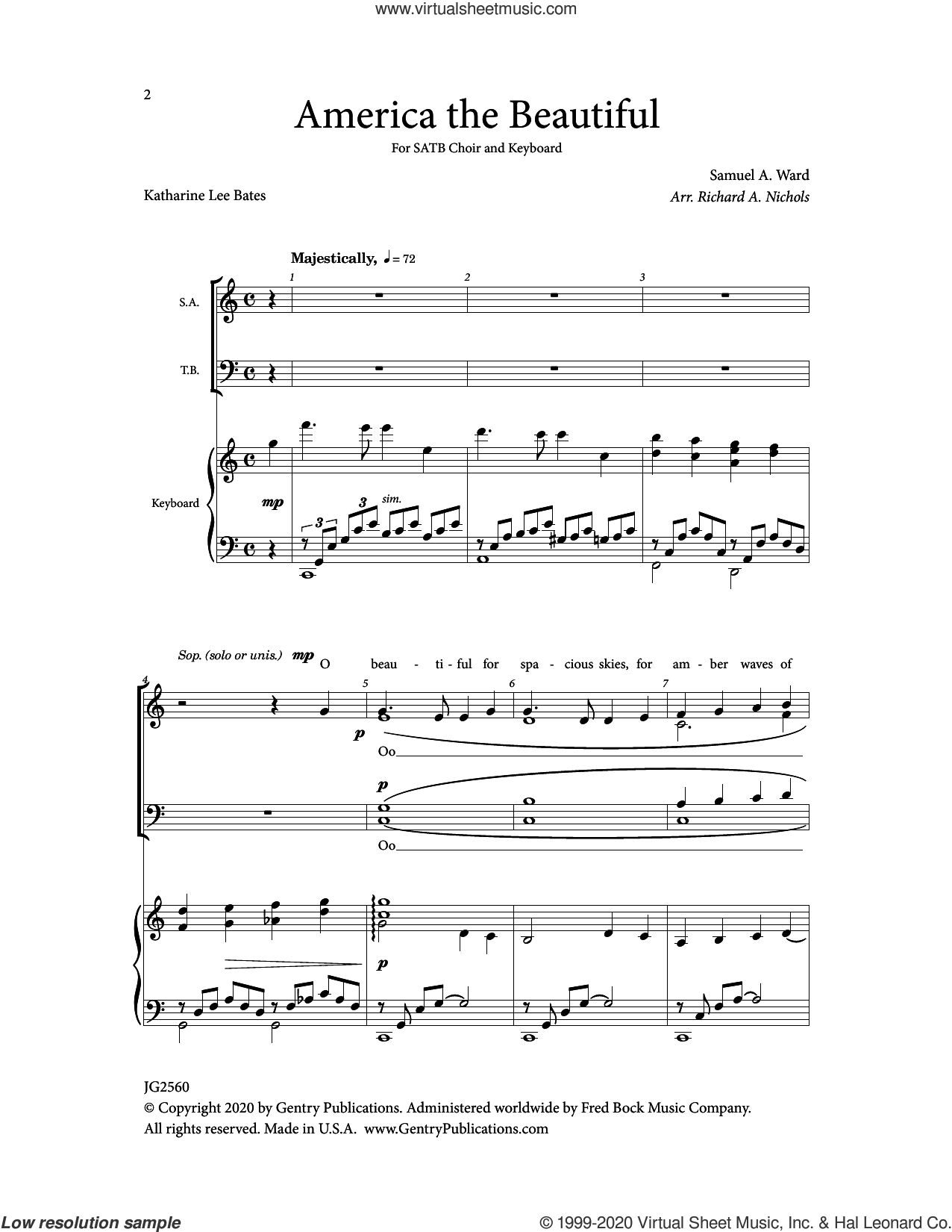 America The Beautiful sheet music for choir (SATB: soprano, alto, tenor, bass) by Samuel Augustus Ward and Richard Nichols, intermediate skill level