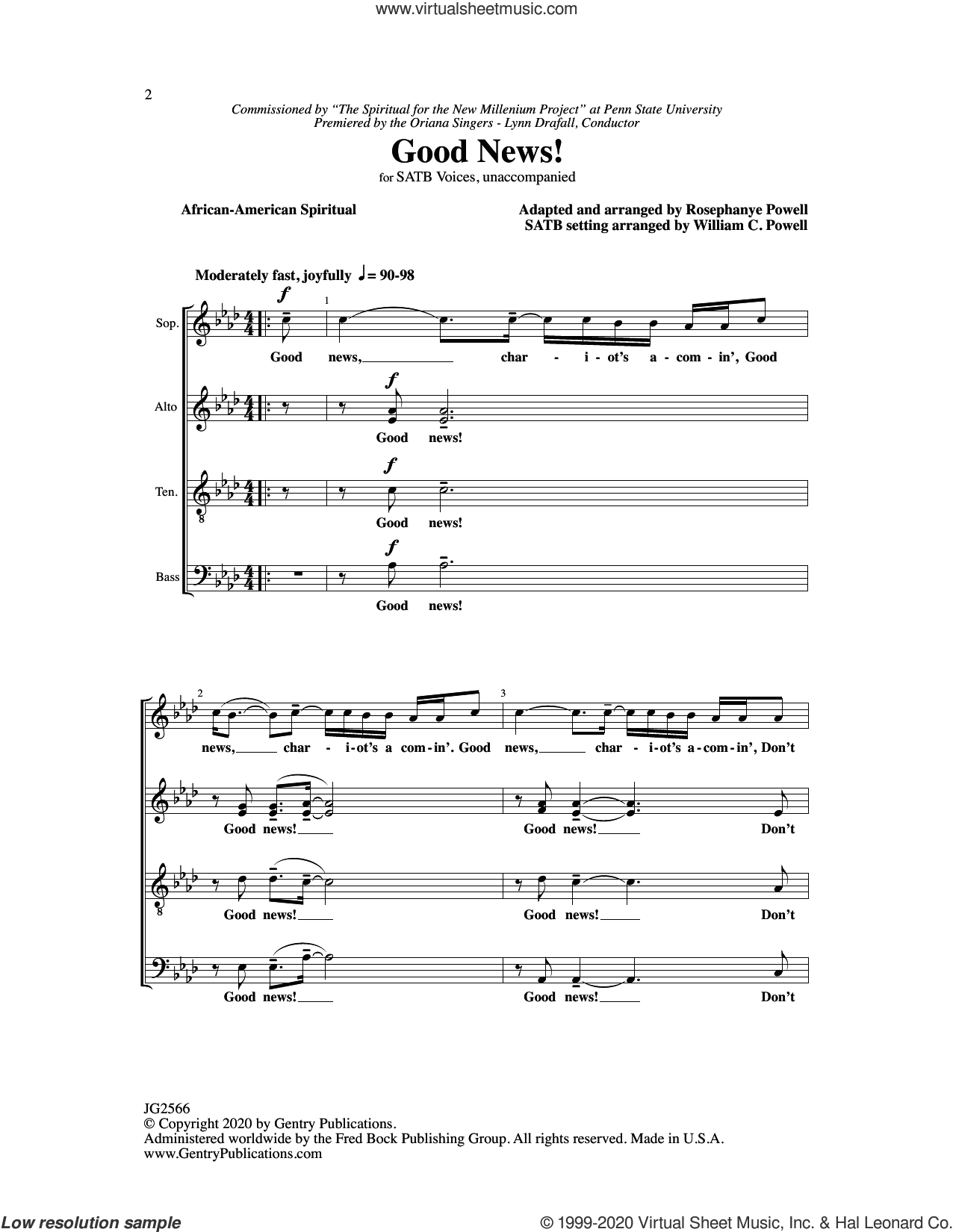 Good News sheet music for choir (SATB: soprano, alto, tenor, bass) by Rosephanye & William C. Powell, Rosephanye Powell and William C. Powell, intermediate skill level