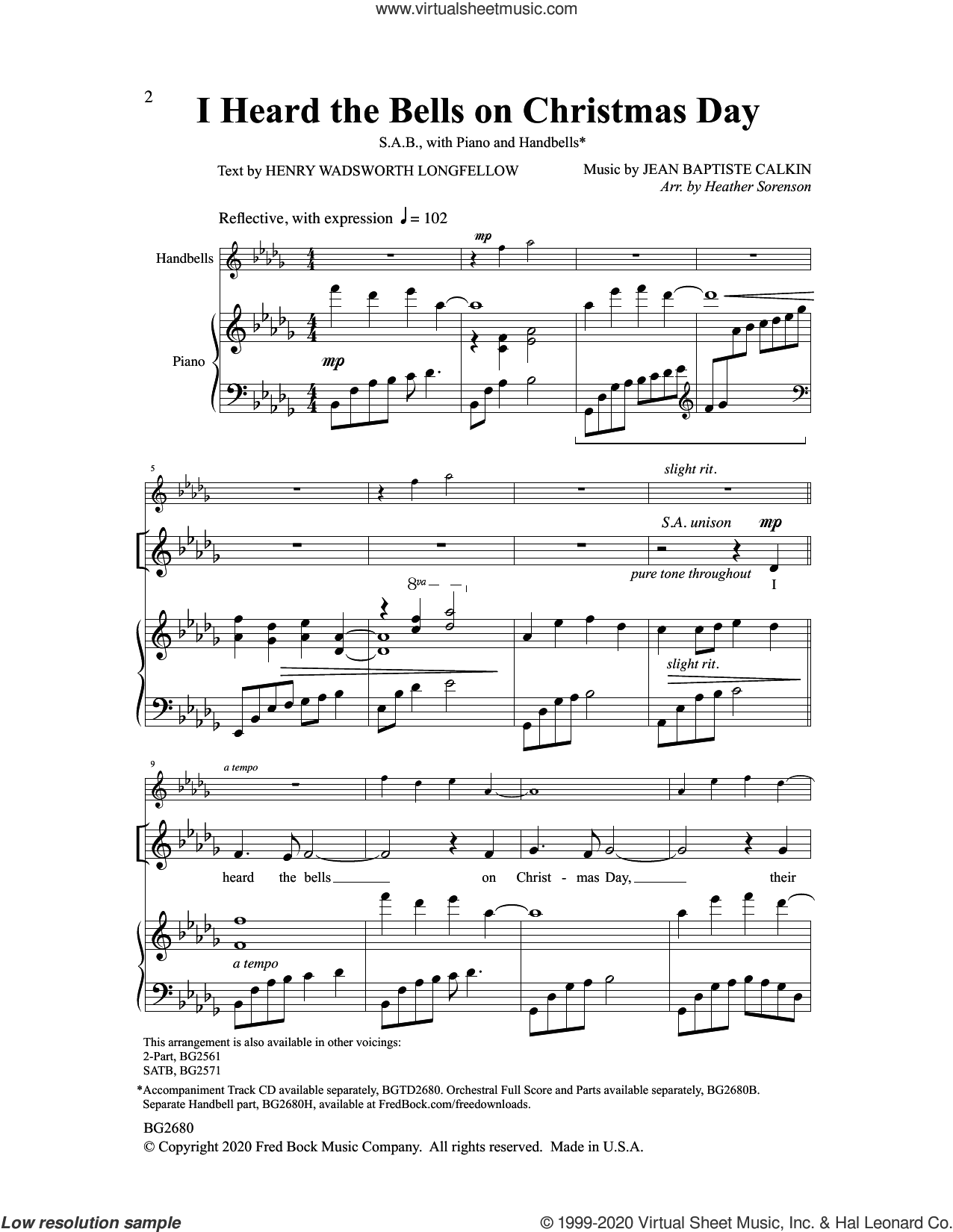 I Heard the Bells On Christmas Day sheet music for choir (SAB: soprano, alto, bass) by Heather Sorenson, intermediate skill level
