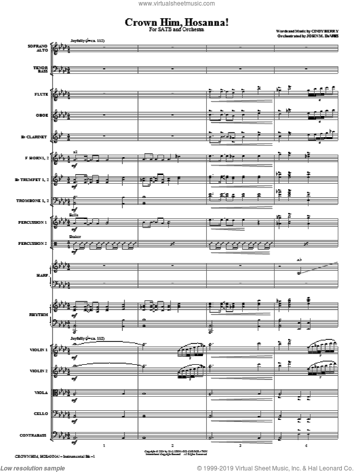 Crown Him Hosanna sheet music for orchestra/band (full score) by Cindy Berry