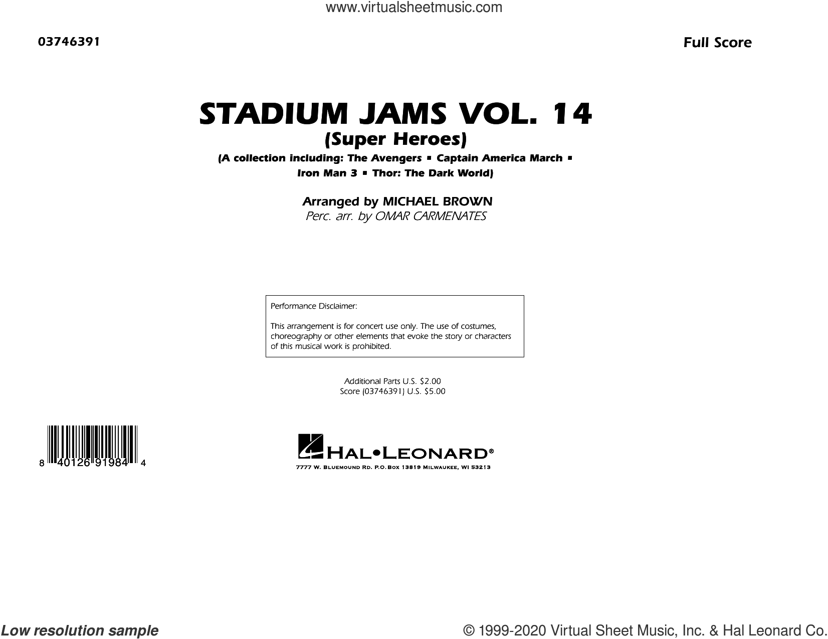 Stadium Jams Vol. 14 (Super Heroes) (COMPLETE) sheet music for marching band by Michael Brown and Omar Carmenates, intermediate skill level