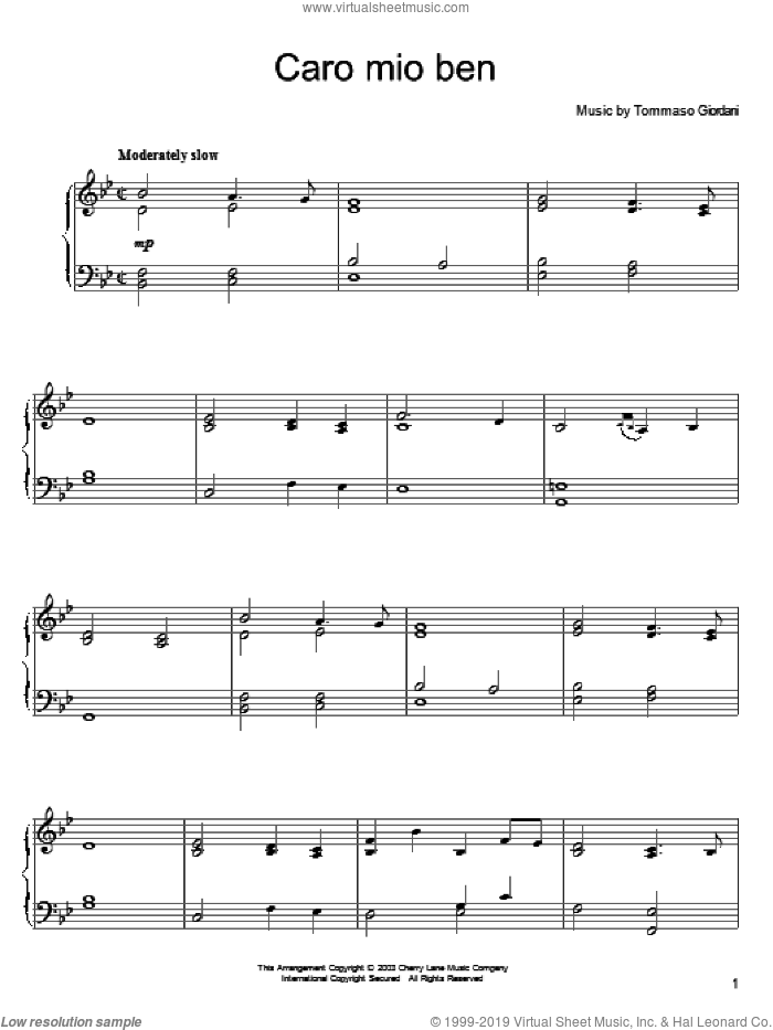 Caro Mio Ben sheet music for piano solo by Anonymous Italian poem