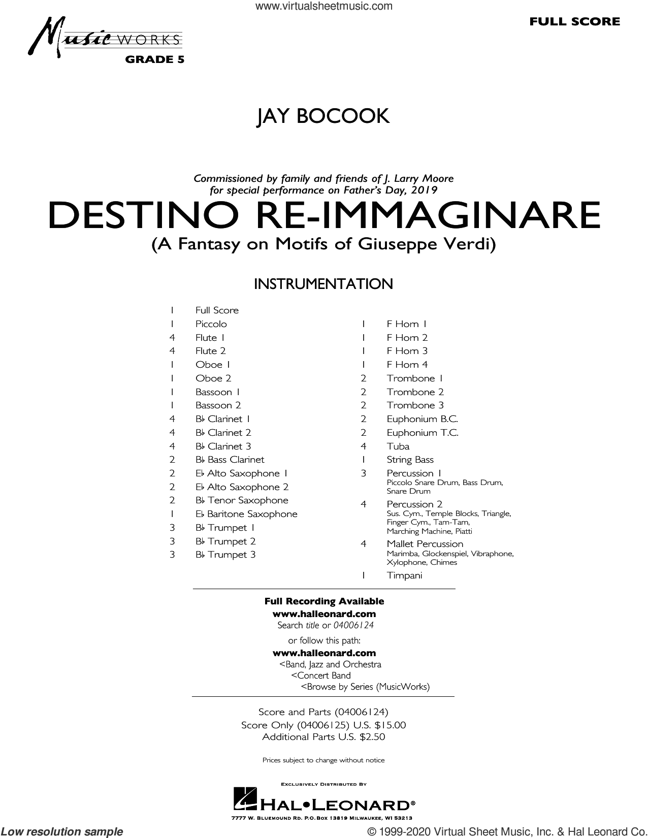 Destino Re-Immaginare (A Fantasy on Motifs of G. Verdi) (COMPLETE) sheet music for concert band by Jay Bocook, intermediate skill level