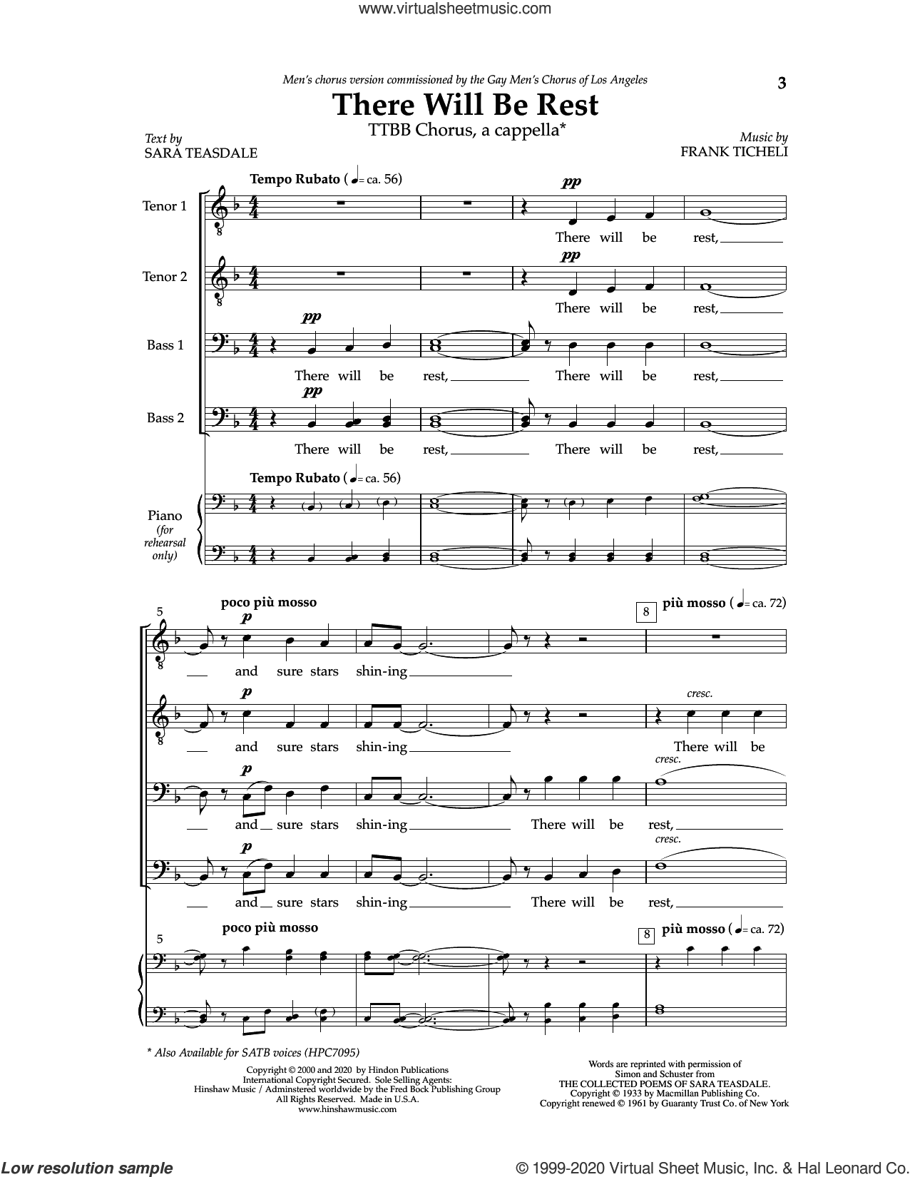 There Will Be Rest sheet music for choir (TTBB: tenor, bass) by Frank Ticheli and Sara Teasdale, intermediate skill level