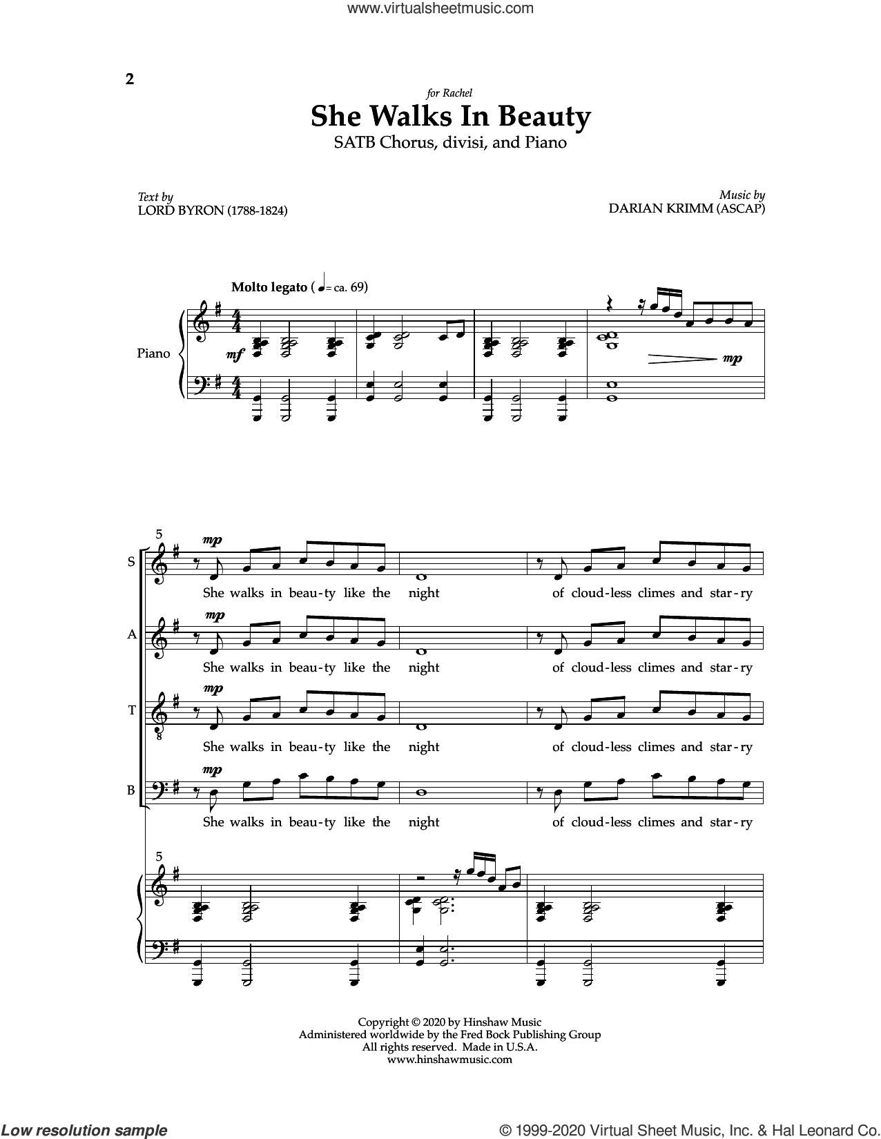 She Walks In Beauty sheet music for choir (SATB: soprano, alto, tenor, bass) by Darian Krimm and Lord Byron, intermediate skill level