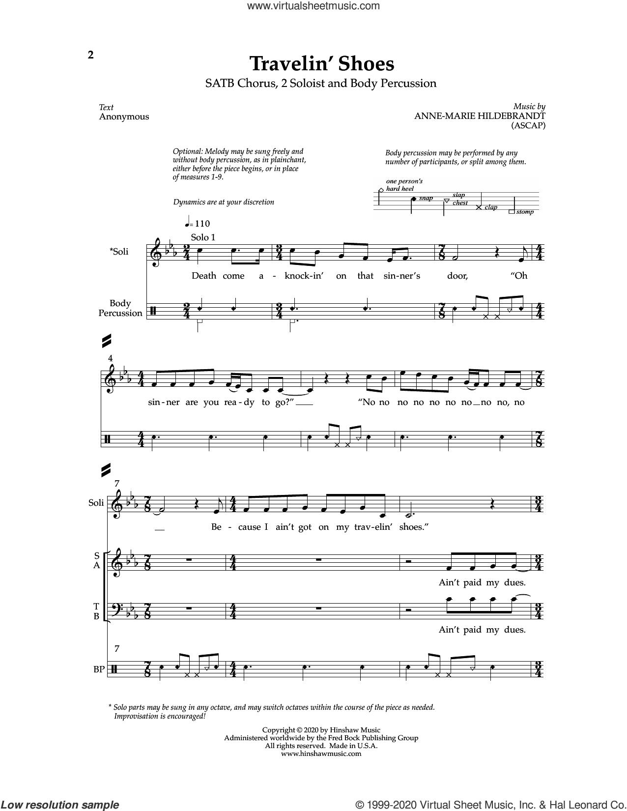 Travelin' Shoes sheet music for choir (SATB: soprano, alto, tenor, bass) by Anne-Marie Hildebrandt, intermediate skill level