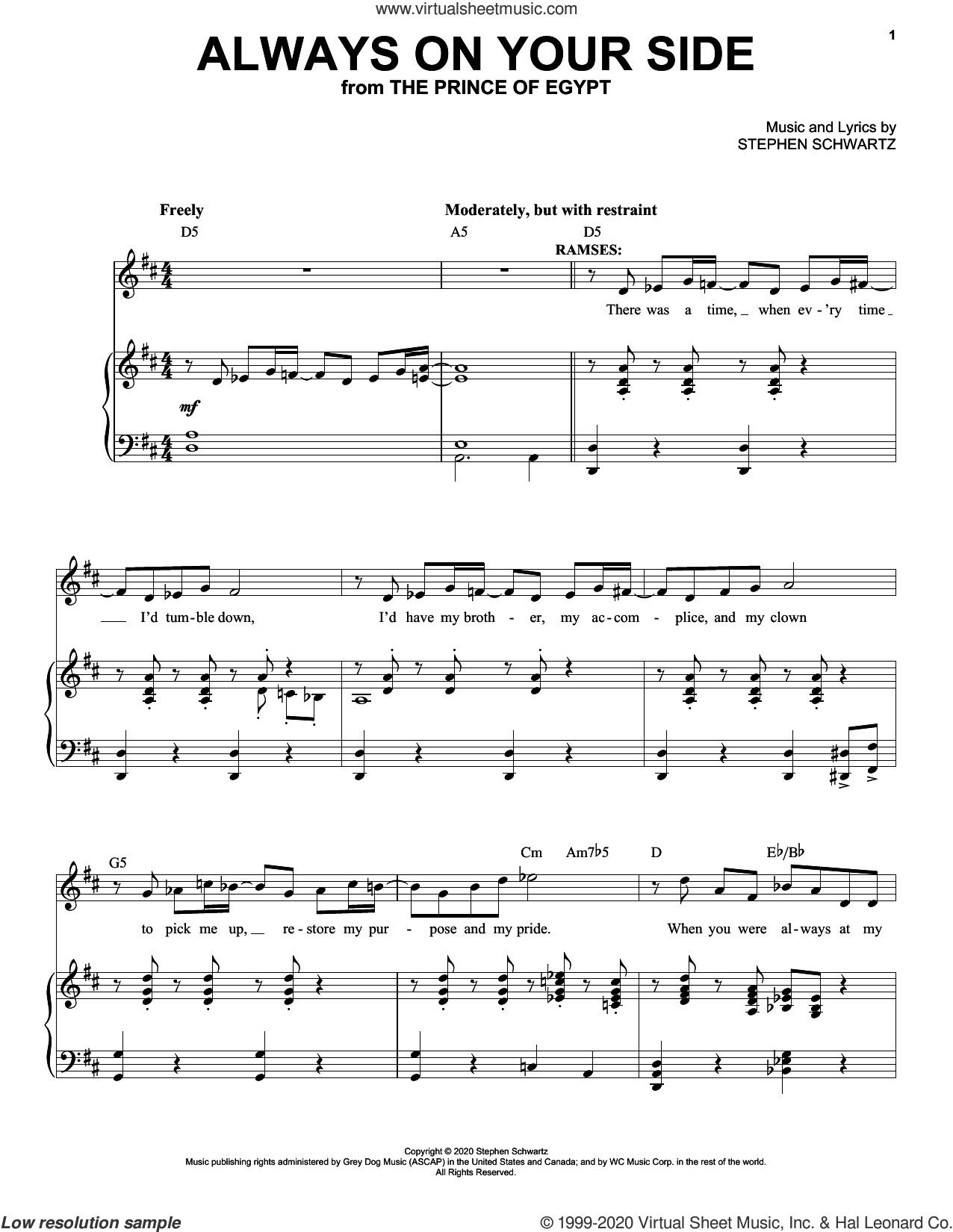 Always On Your Side (from The Prince Of Egypt: A New Musical) sheet music for voice and piano by Stephen Schwartz, intermediate skill level